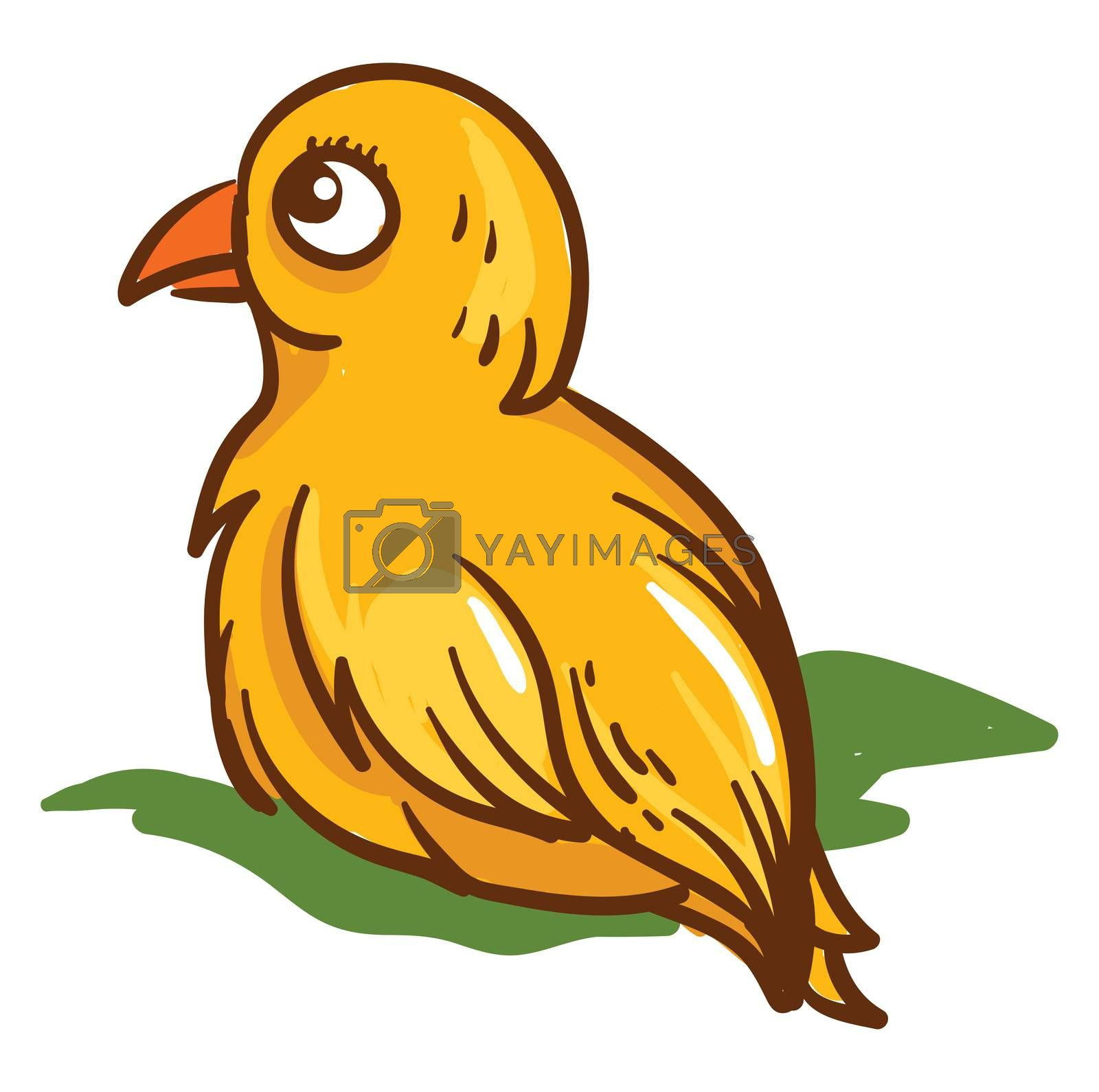 Yellow small bird , illustration, vector on white background by Morphart