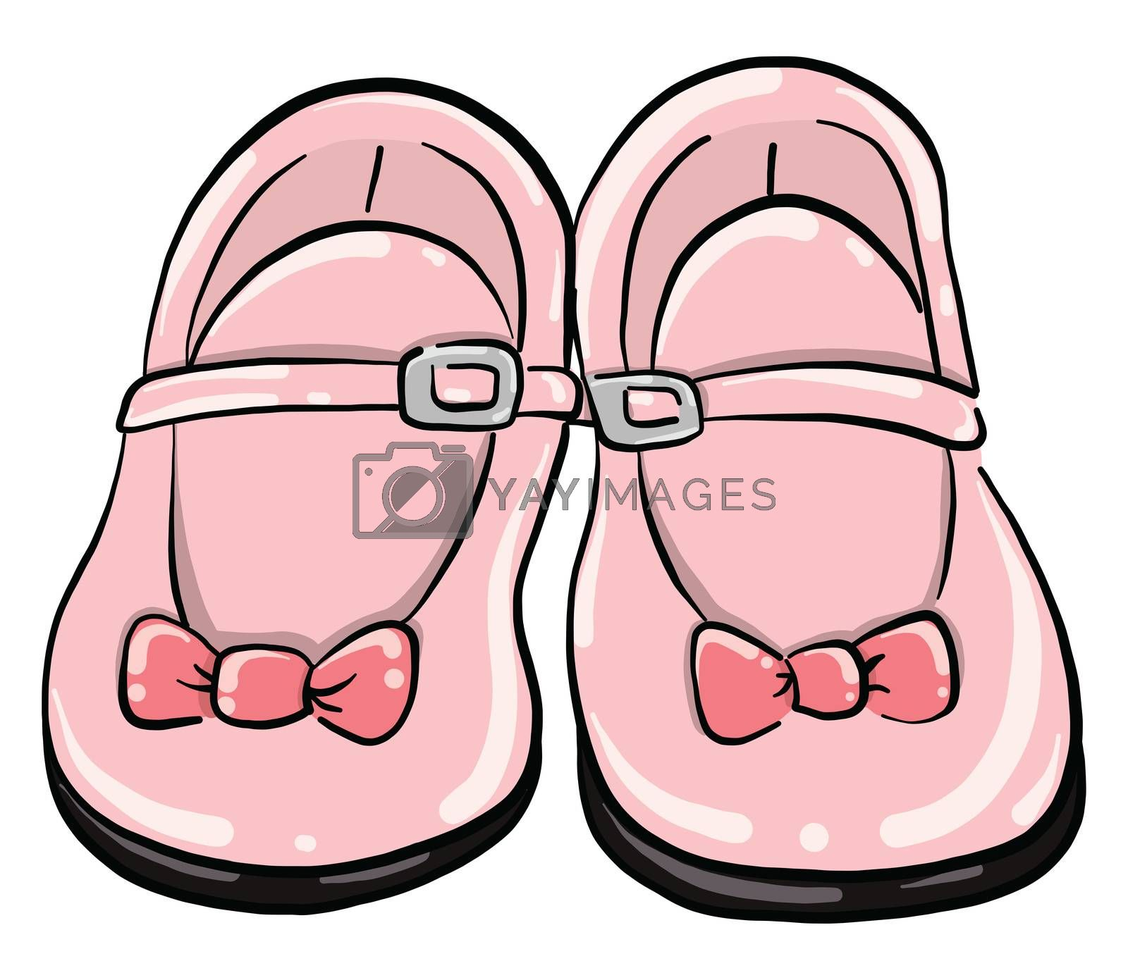 Baby pink shoes , illustration, vector on white background by Morphart