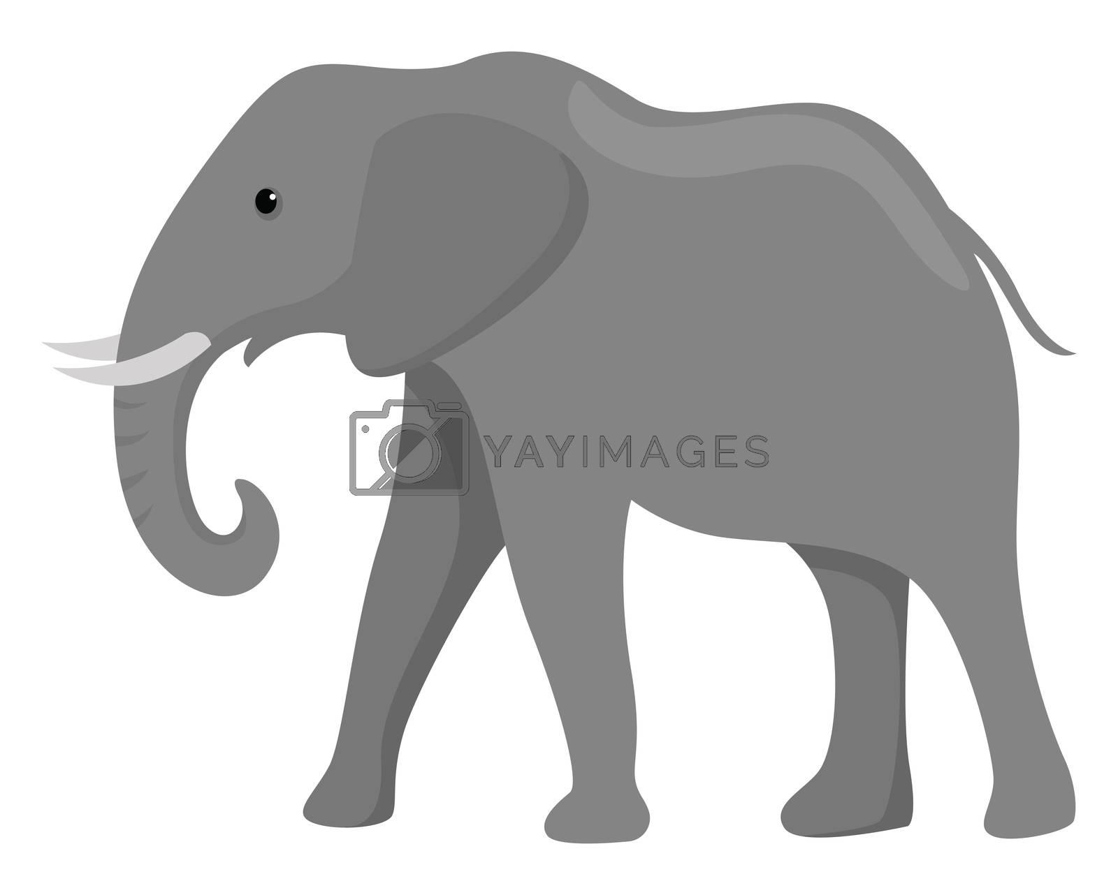 Big elephant , illustration, vector on white background by Morphart