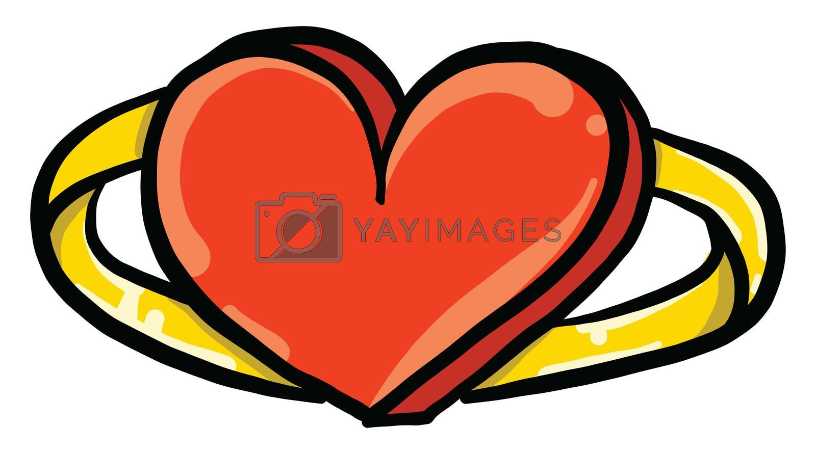 Golden ring with heart , illustration, vector on white backgroun by Morphart