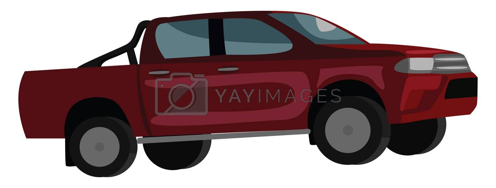 Red pickup , illustration, vector on white background