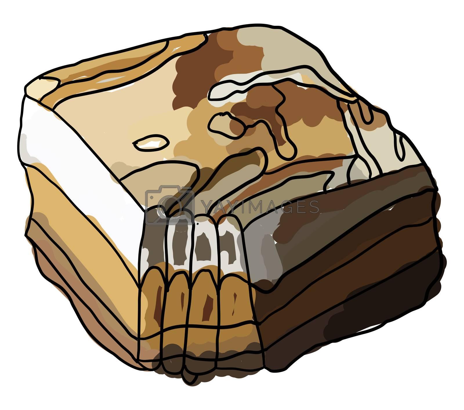 Sweet potato pie, illustration, vector on white background by Morphart