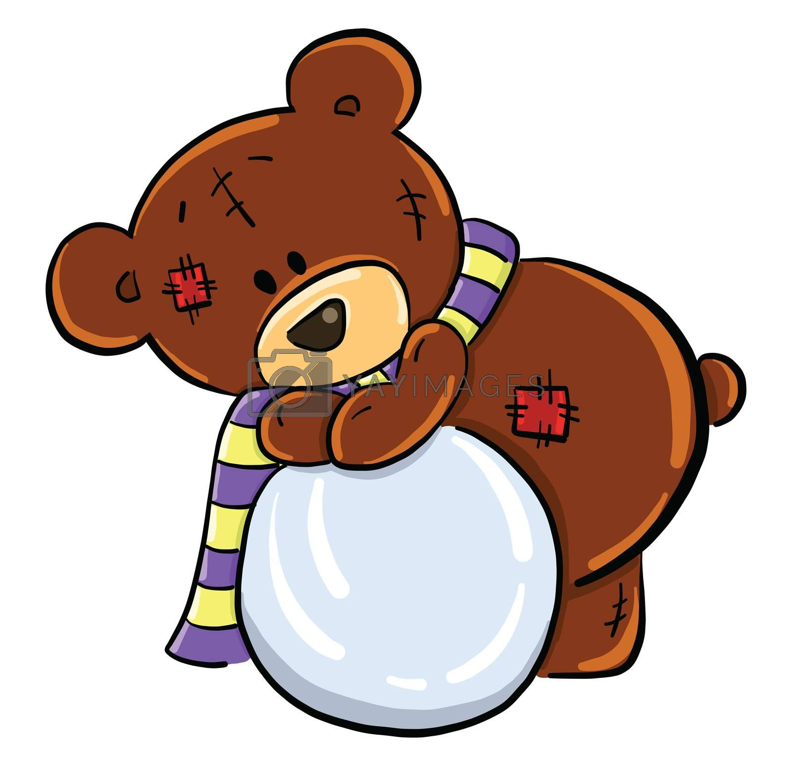 Bear with snowball , illustration, vector on white background by Morphart