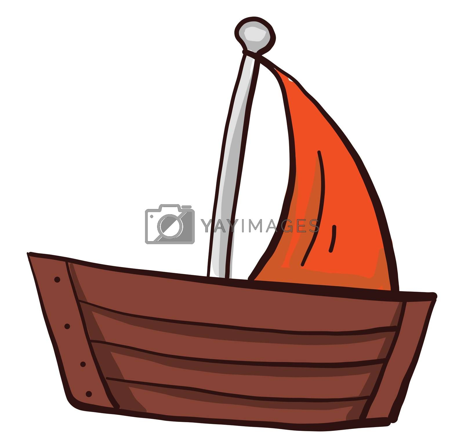 Boat with orange sail , illustration, vector on white background by Morphart