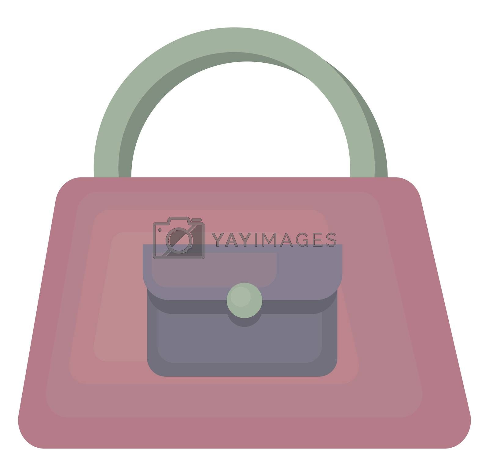 Purple woman bag , illustration, vector on white background by Morphart