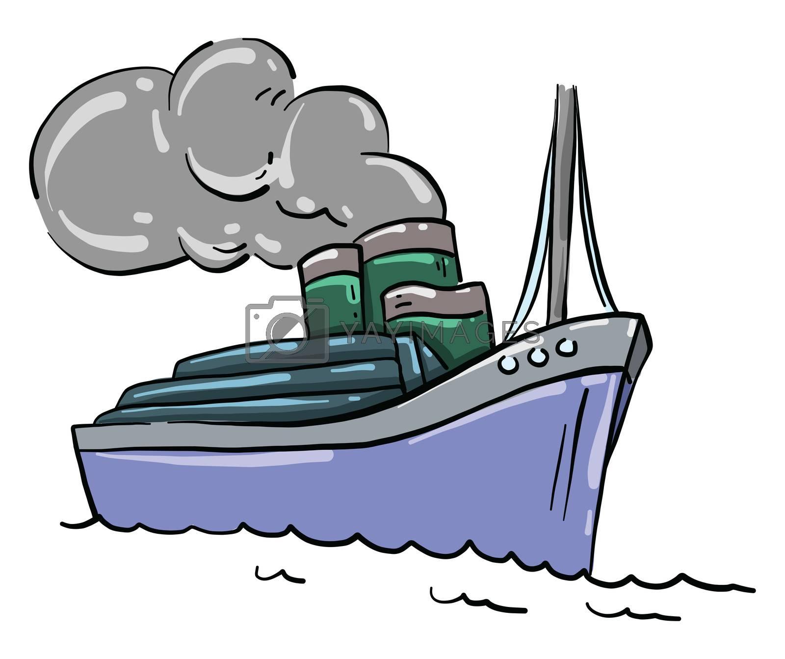 Big blue ship , illustration, vector on white background by Morphart