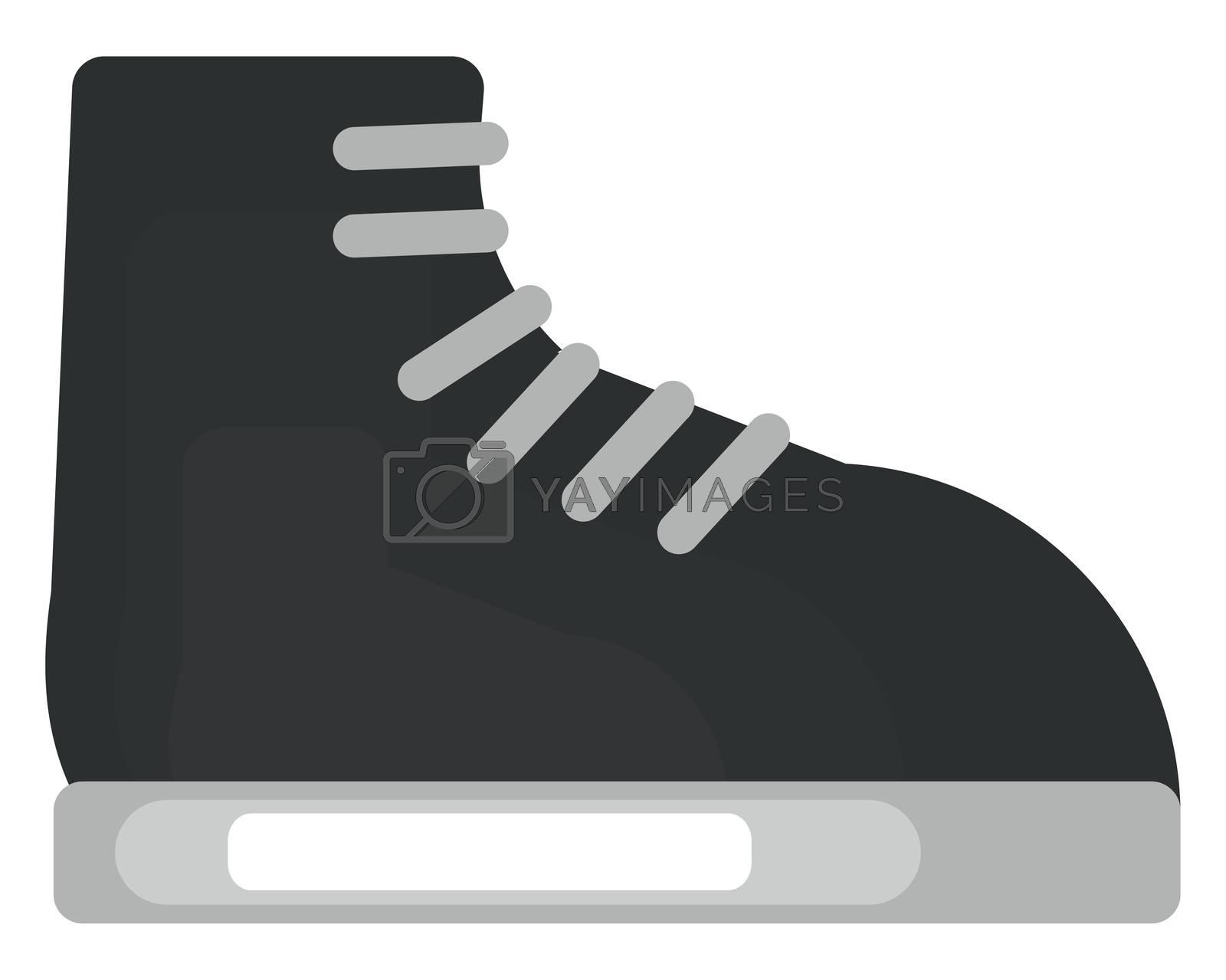 Black boot , illustration, vector on white background by Morphart