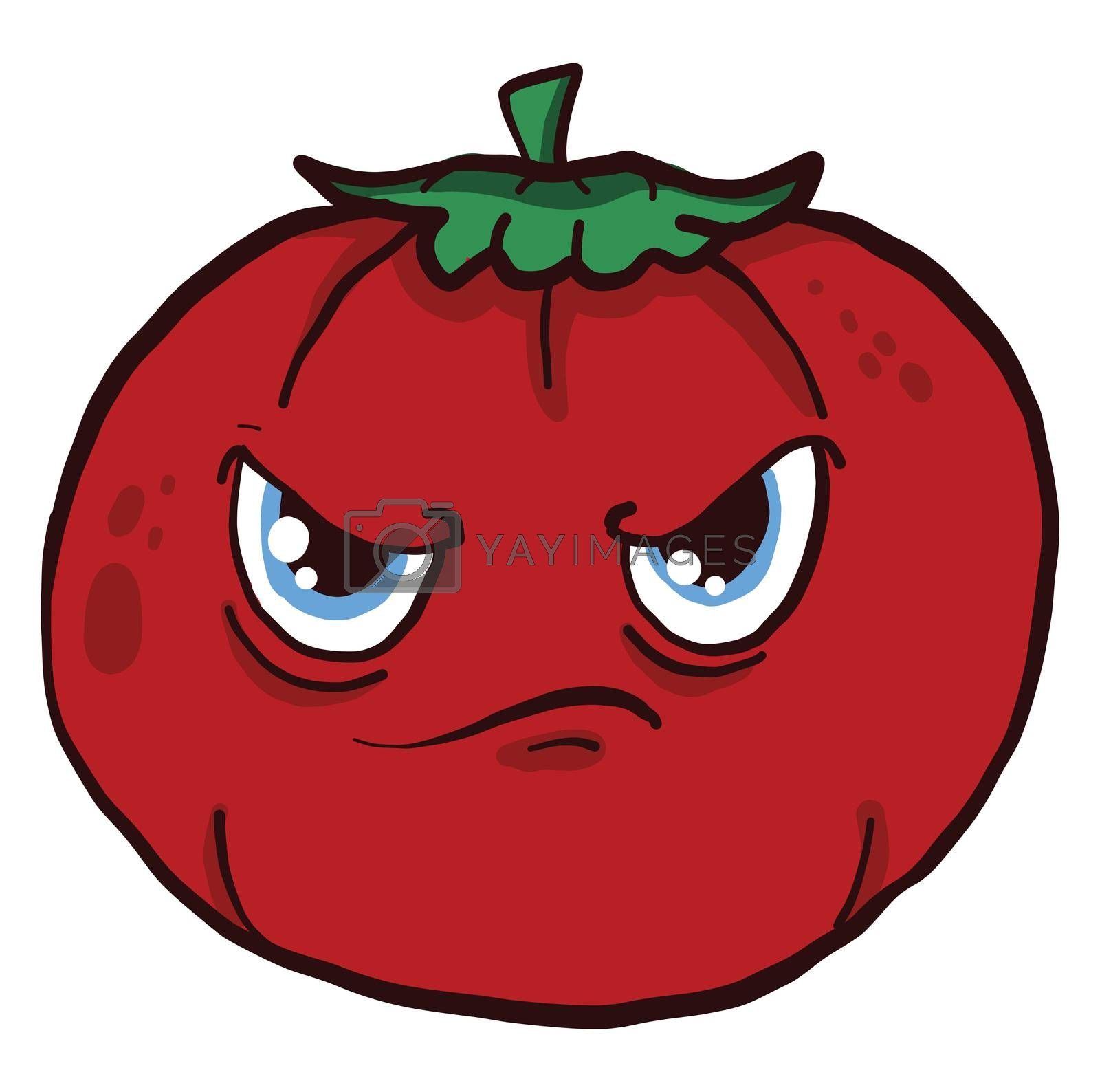 Angry tomato , illustration, vector on white background by Morphart