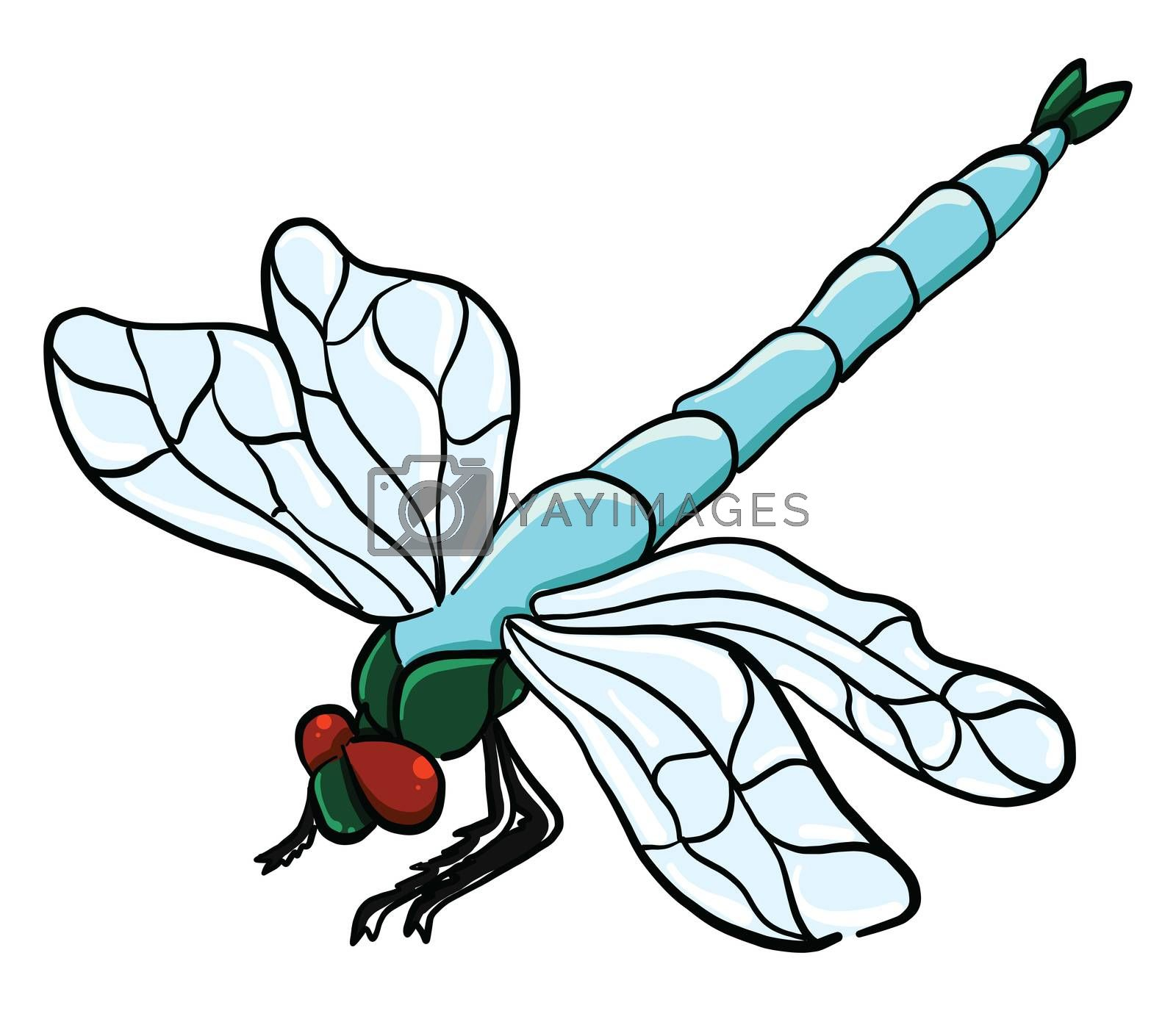 Blue dragonfly , illustration, vector on white background by Morphart