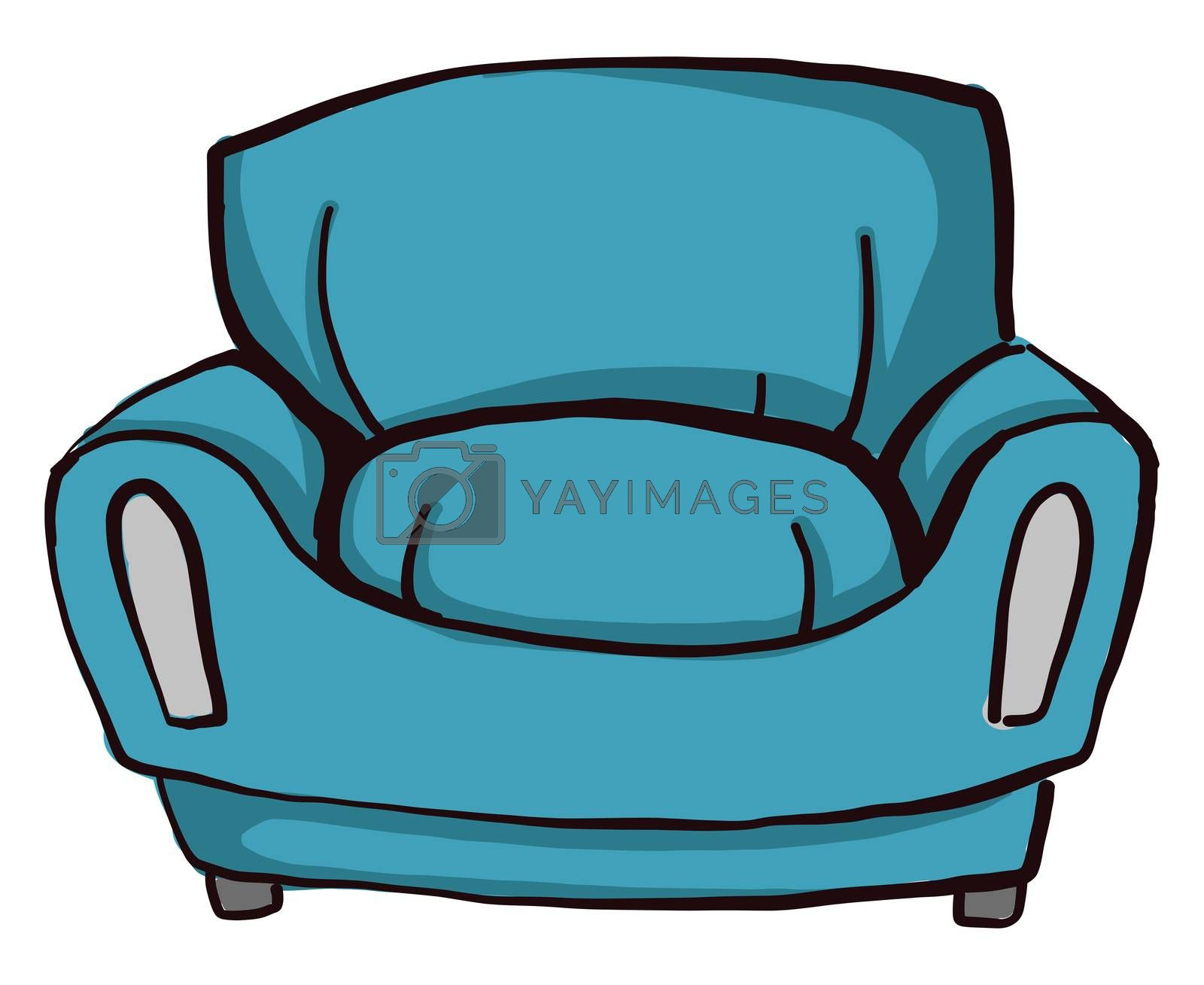 Blue couch , illustration, vector on white background by Morphart