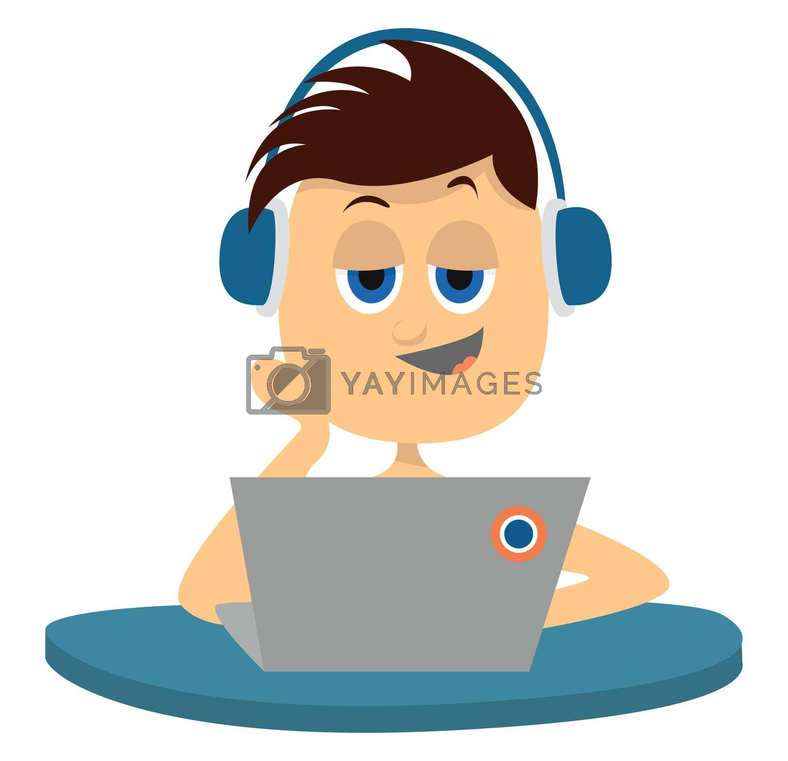 Boy with lap top , illustration, vector on white background by Morphart