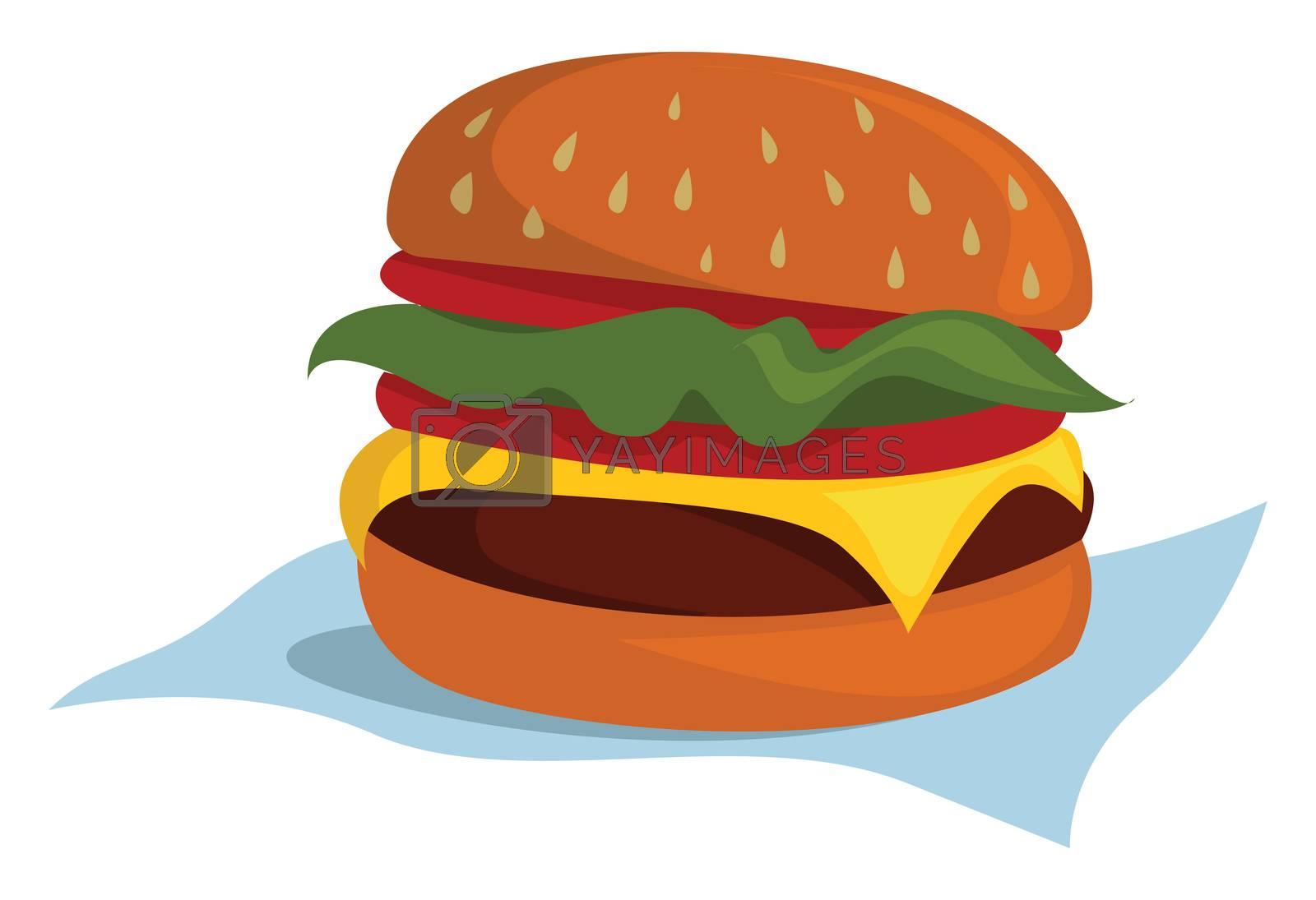Big burger , illustration, vector on white background by Morphart