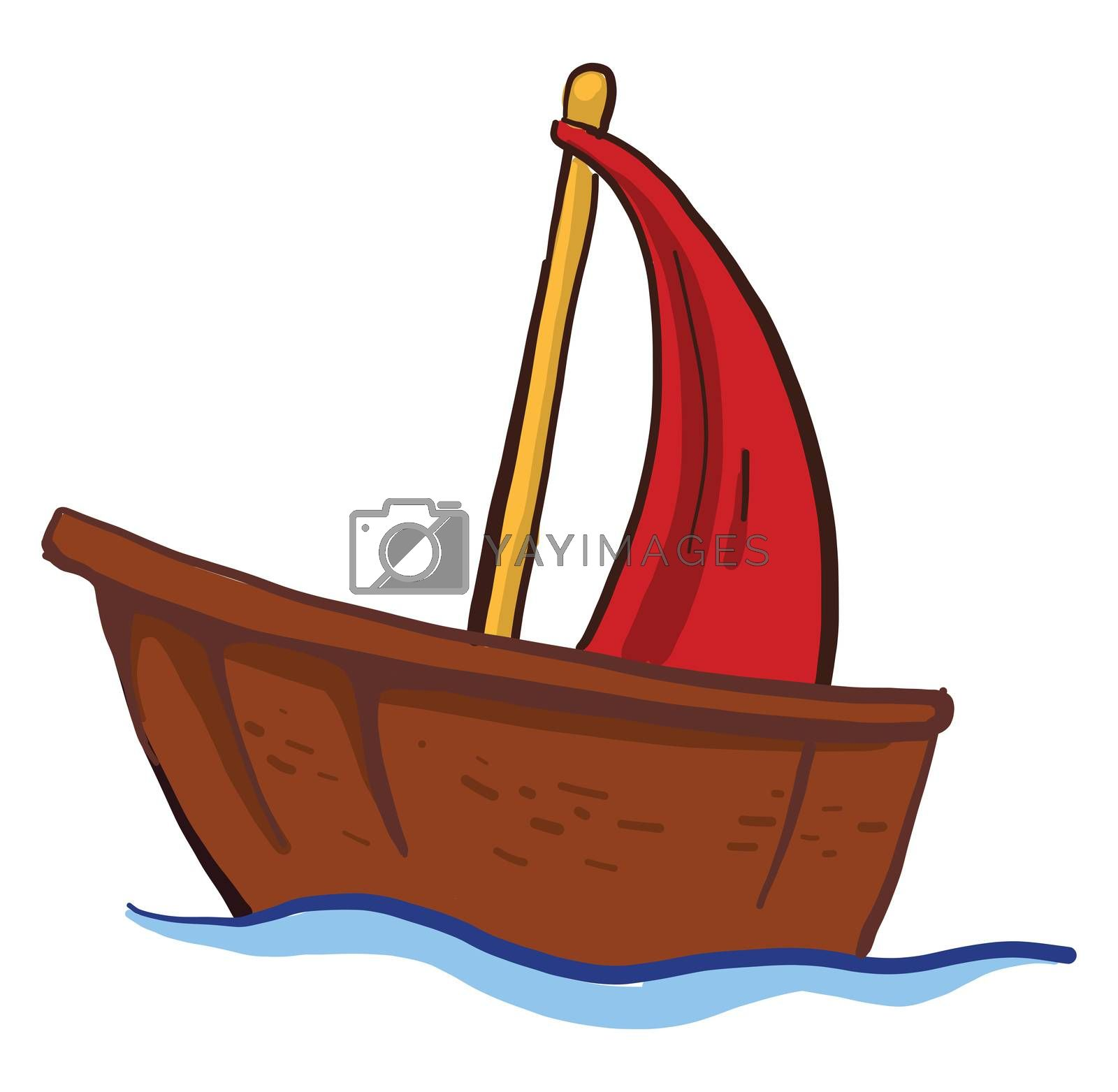 Small wooden boat , illustration, vector on white background by Morphart