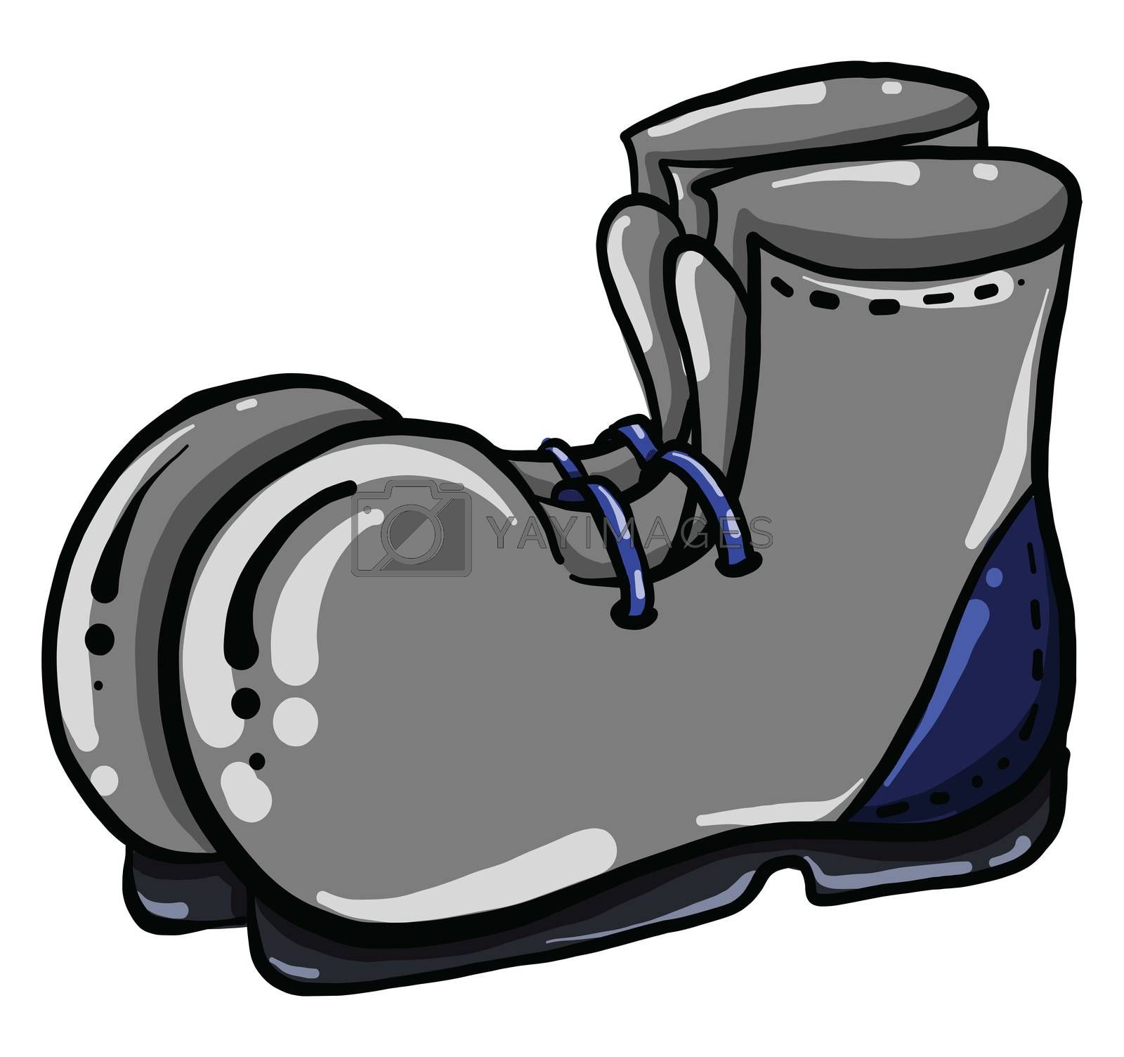 Grey boots , illustration, vector on white background by Morphart