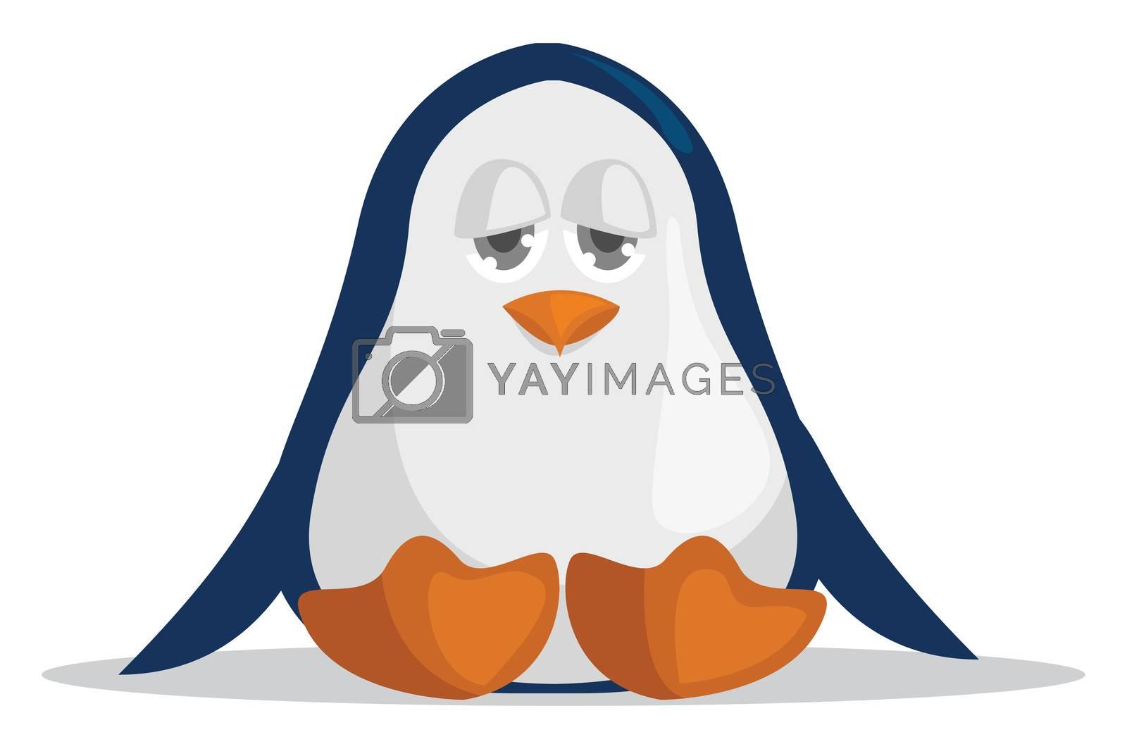 Bored penguin , illustration, vector on white background