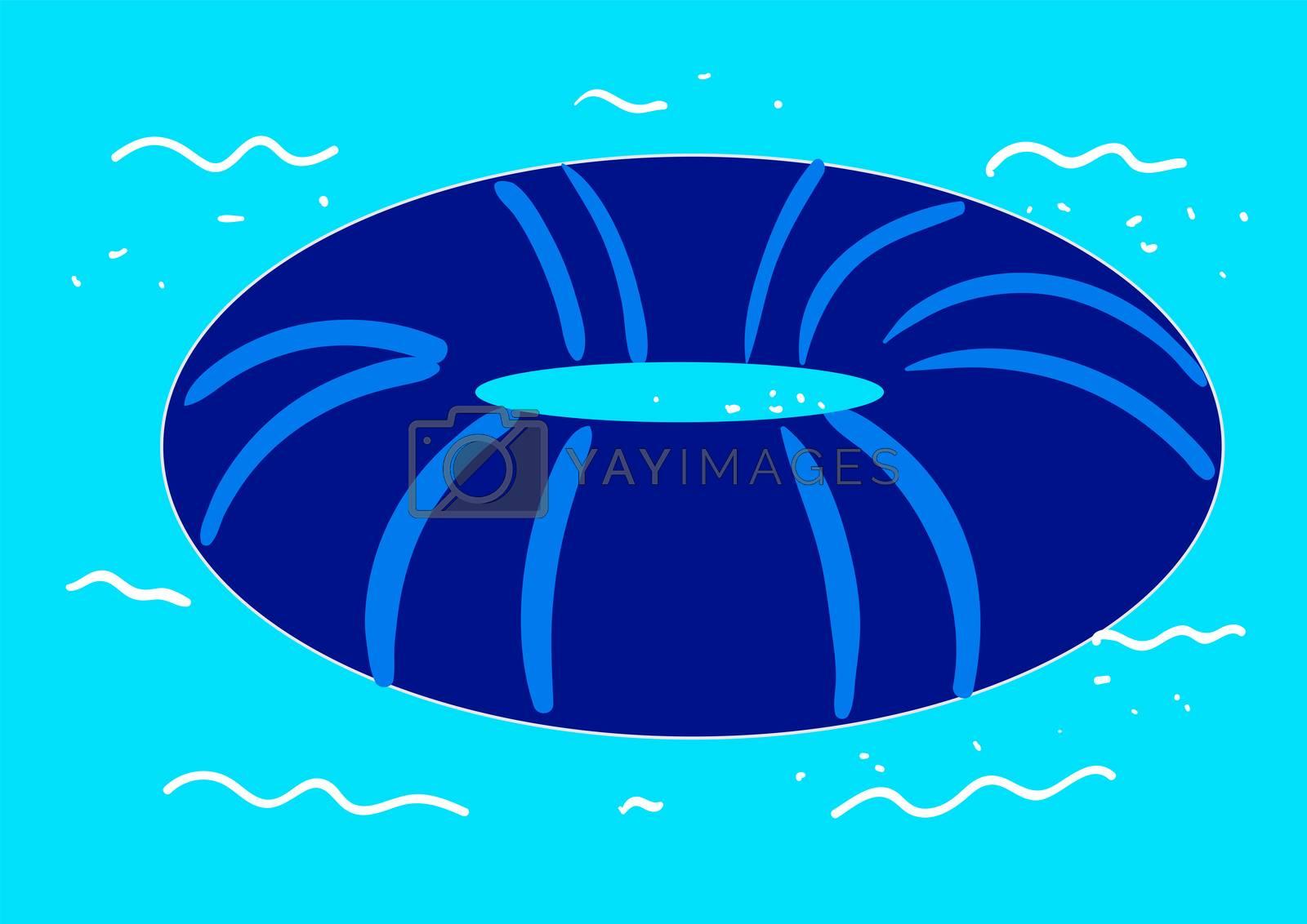 Blue swimming ring , illustration, vector on white background by Morphart