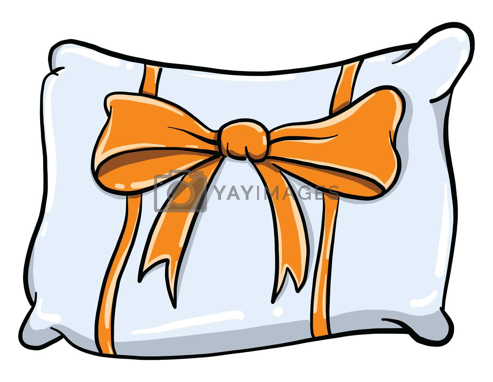Pillow with bow , illustration, vector on white background