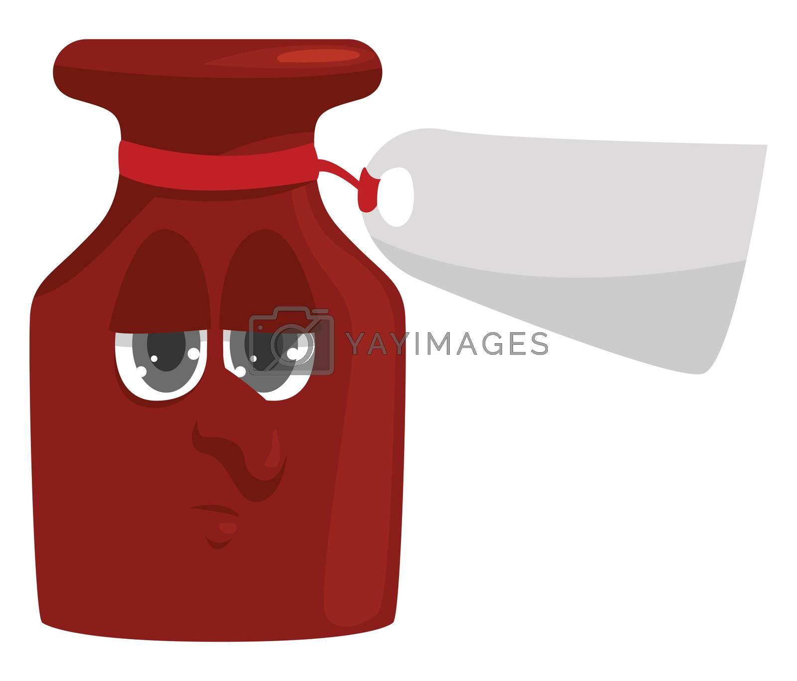 Bottle of medicine , illustration, vector on white background