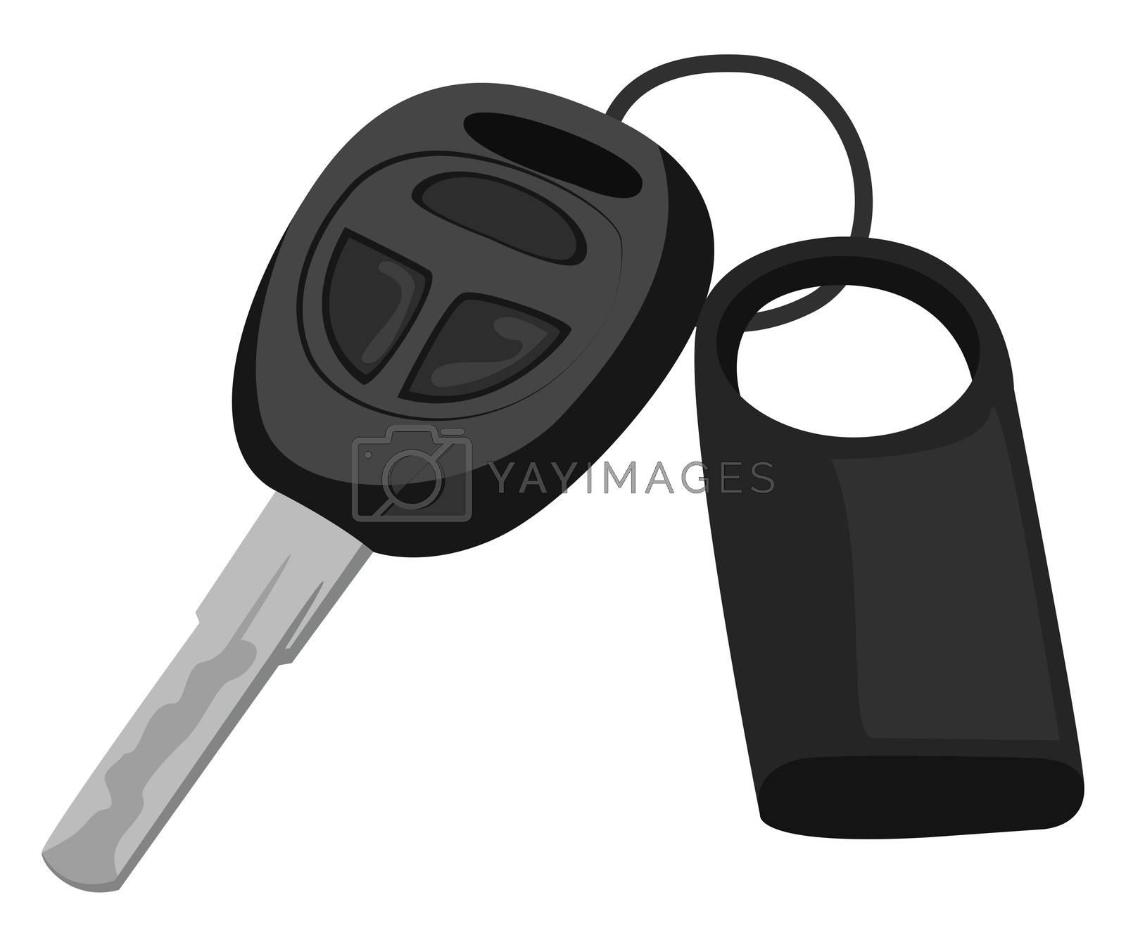 Black car key , illustration, vector on white background