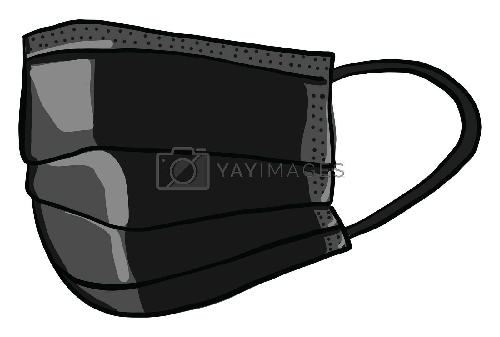 Black medical mask , illustration, vector on white background