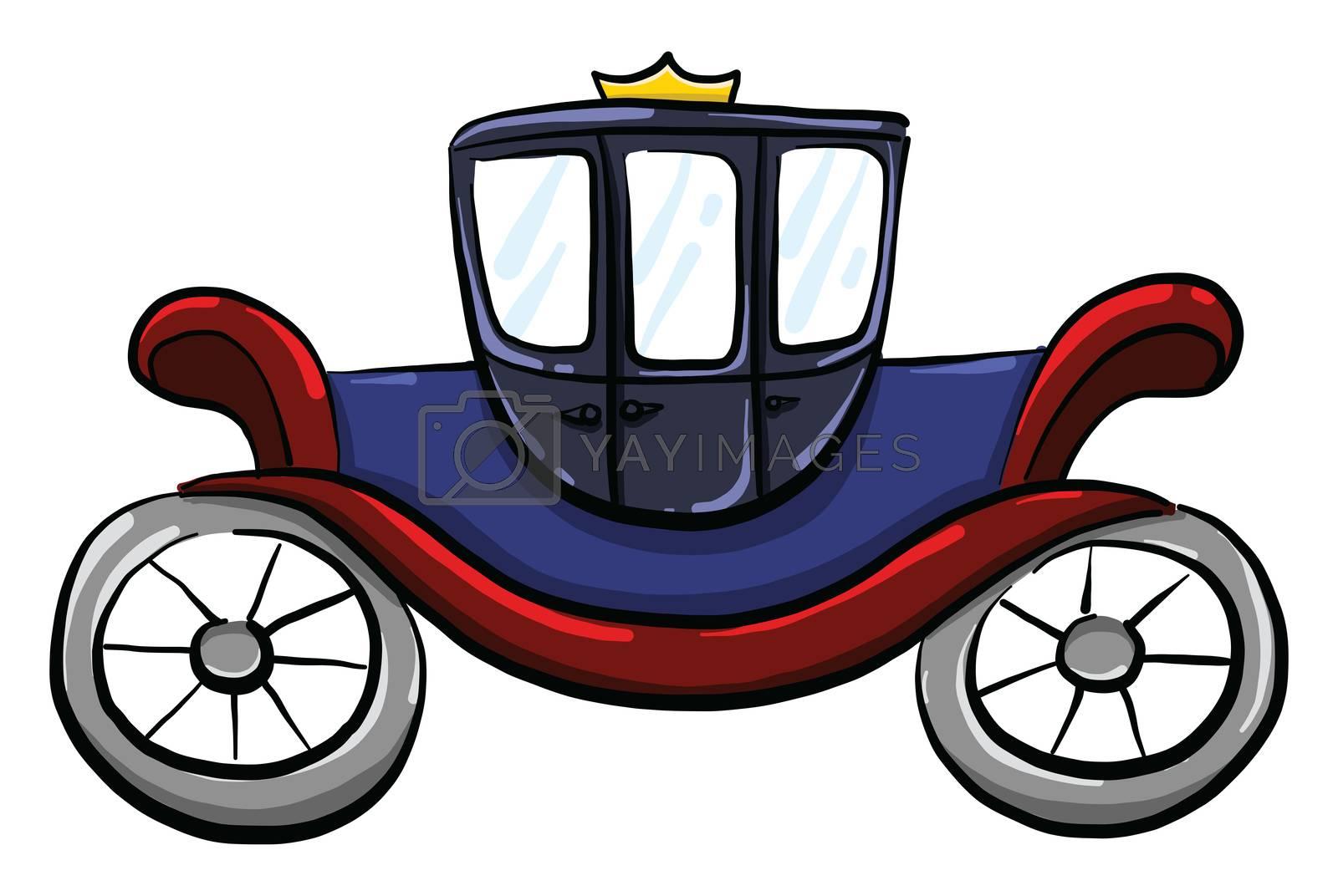 Blue coach for horses , illustration, vector on white background
