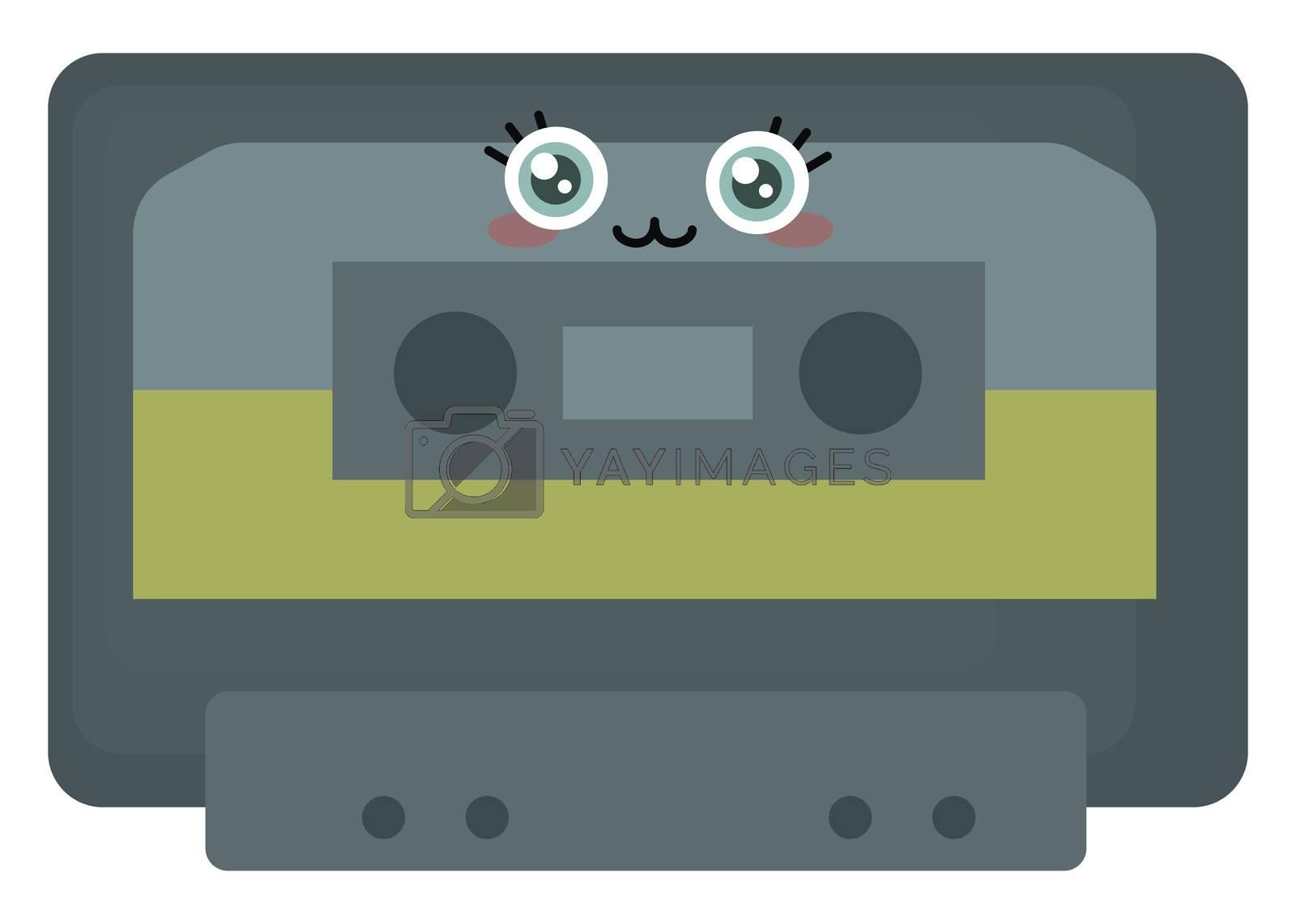 Cute casette tape , illustration, vector on white background