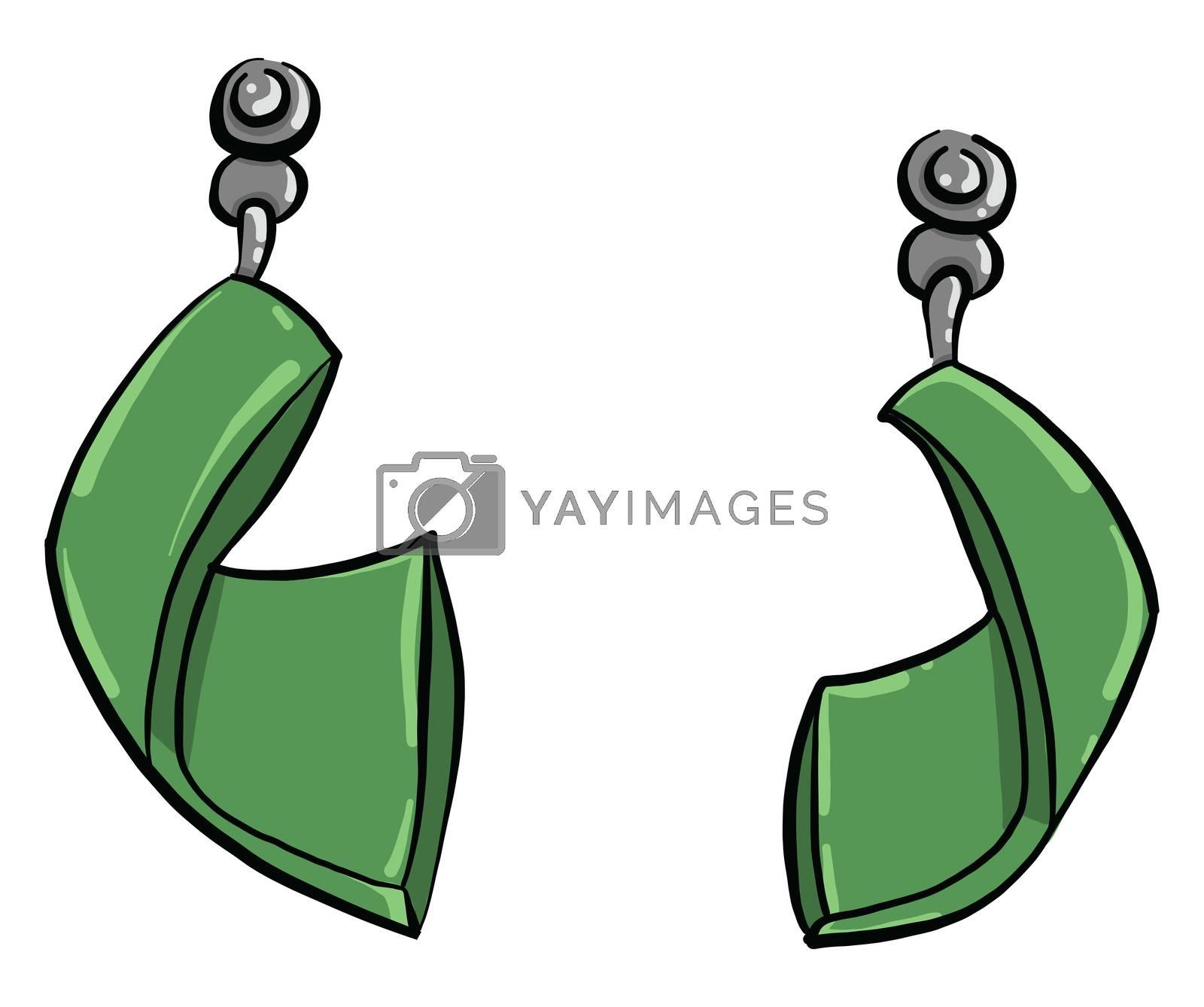 Green earrings , illustration, vector on white background