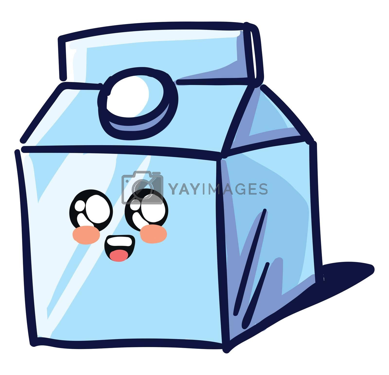 Cute milk paper box , illustration, vector on white background