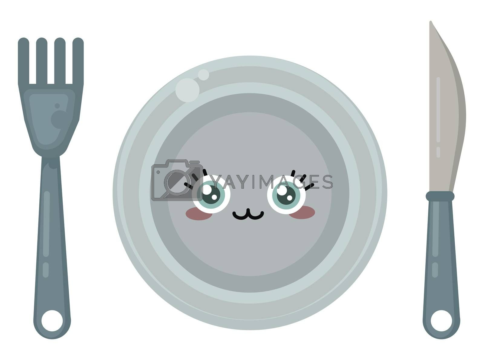Cute dishes , illustration, vector on white background
