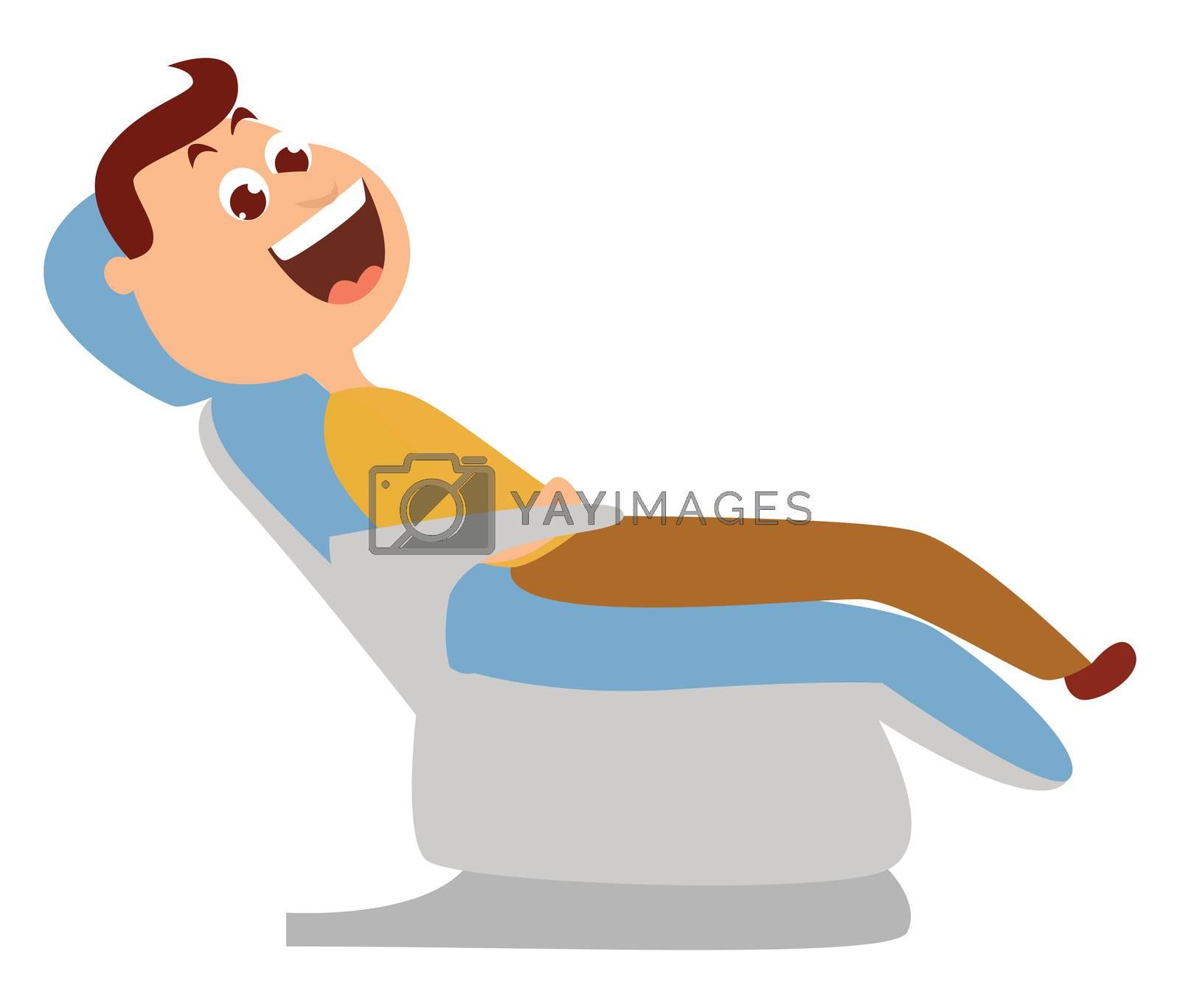 Man on dentist chair , illustration, vector on white background by Morphart