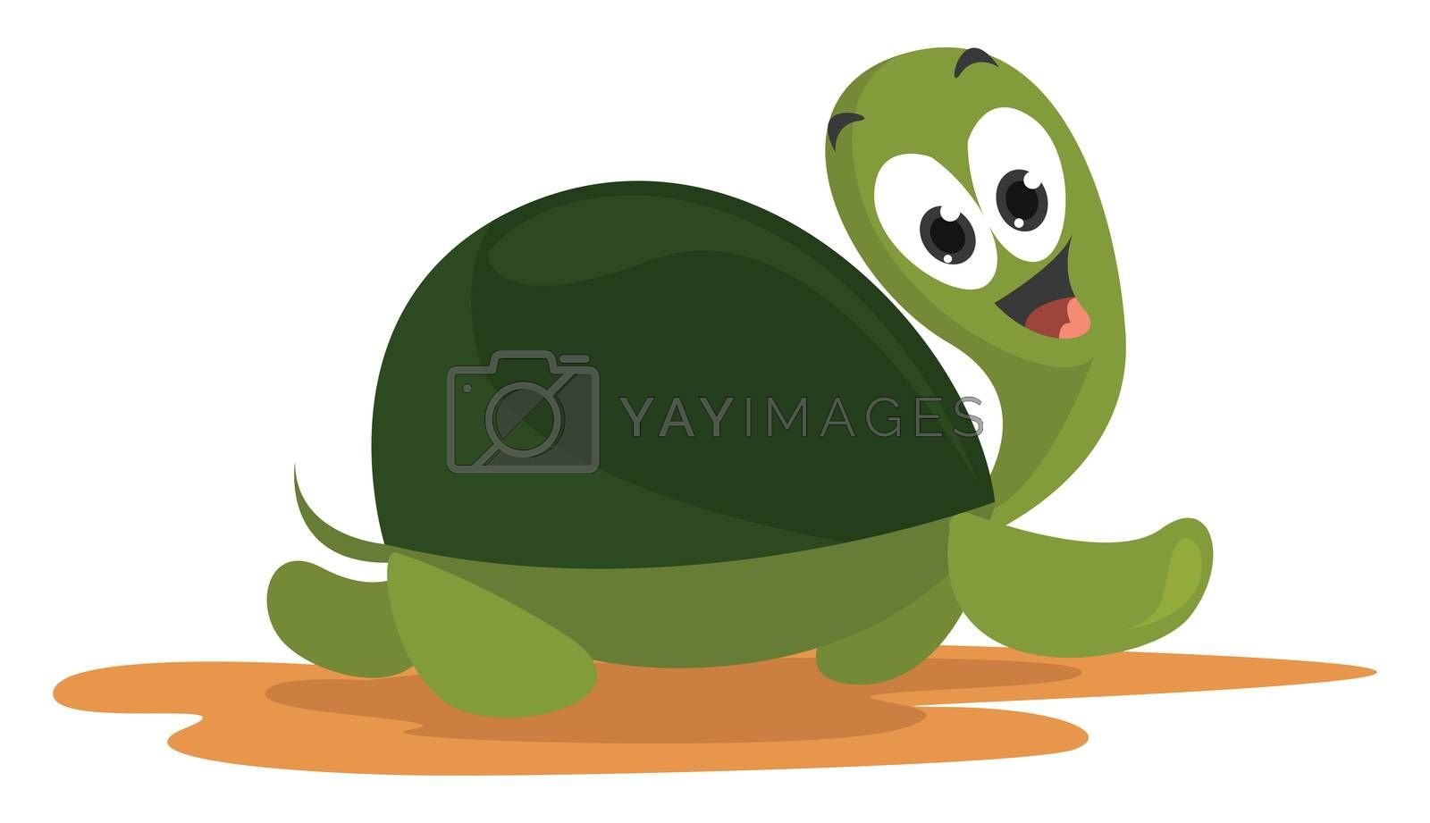 Fast turtle , illustration, vector on white background
