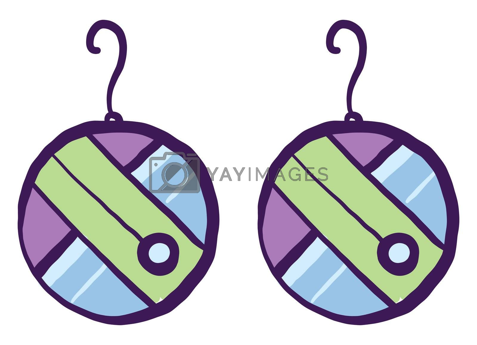Colorful earrings , illustration, vector on white background by Morphart