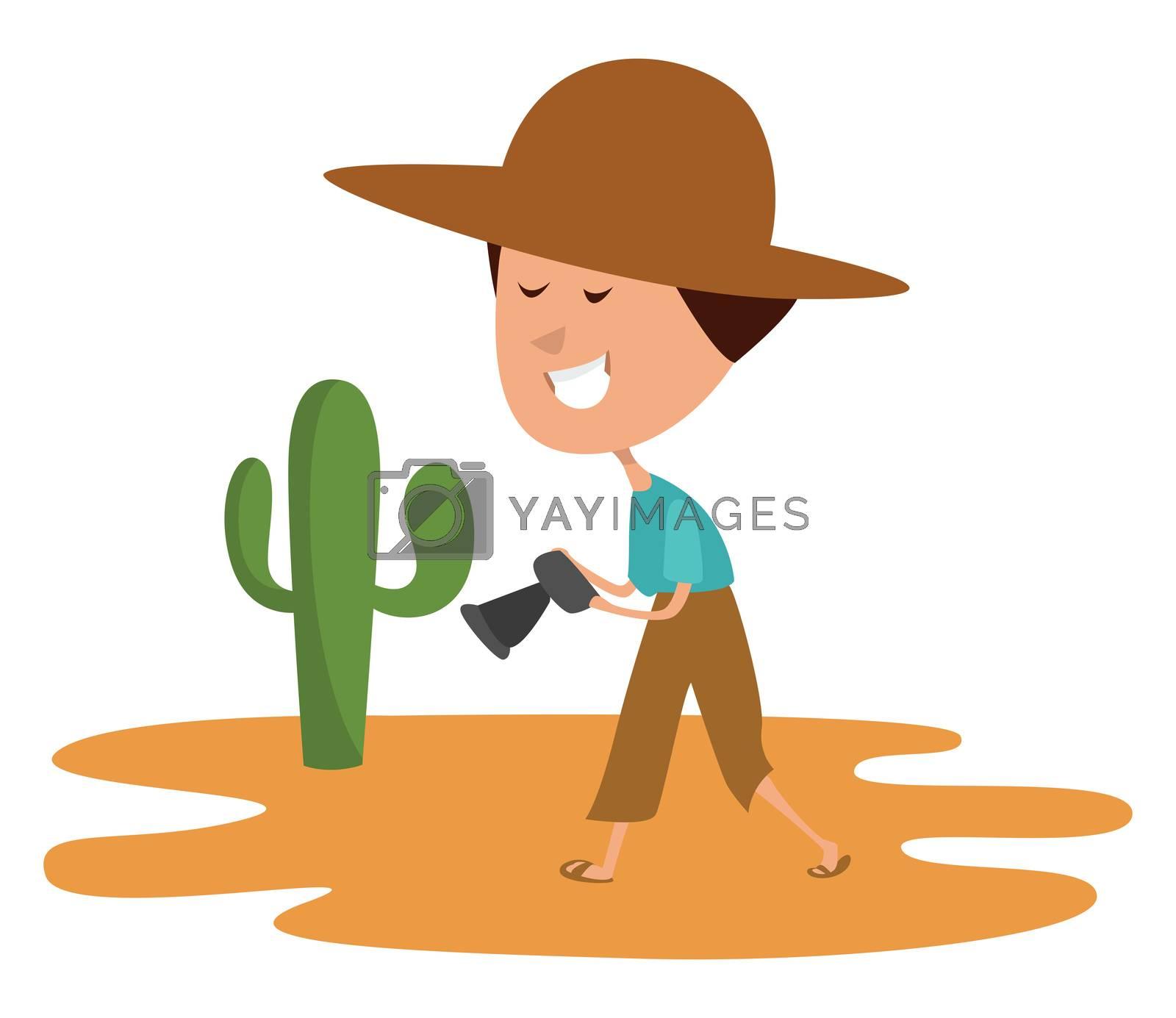Man in the desert , illustration, vector on white background