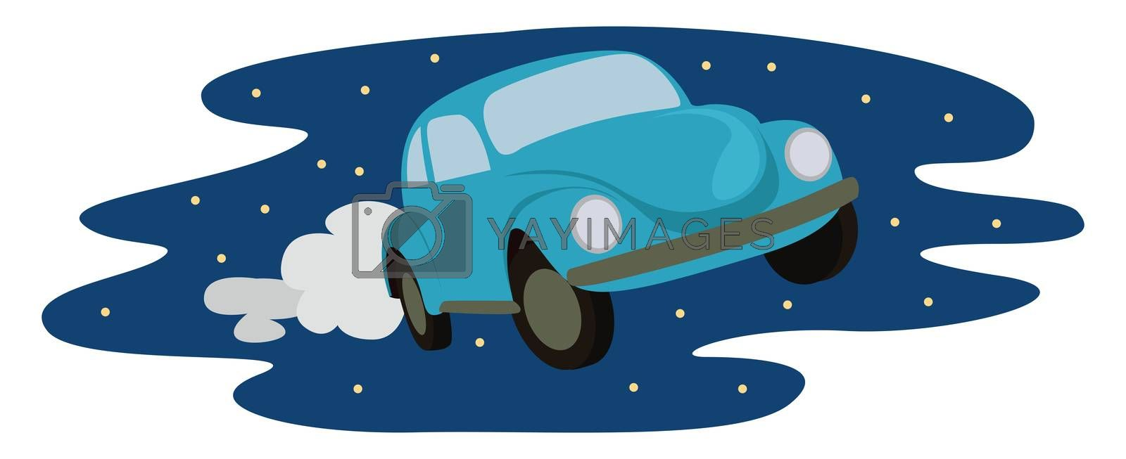 Flying car , illustration, vector on white background