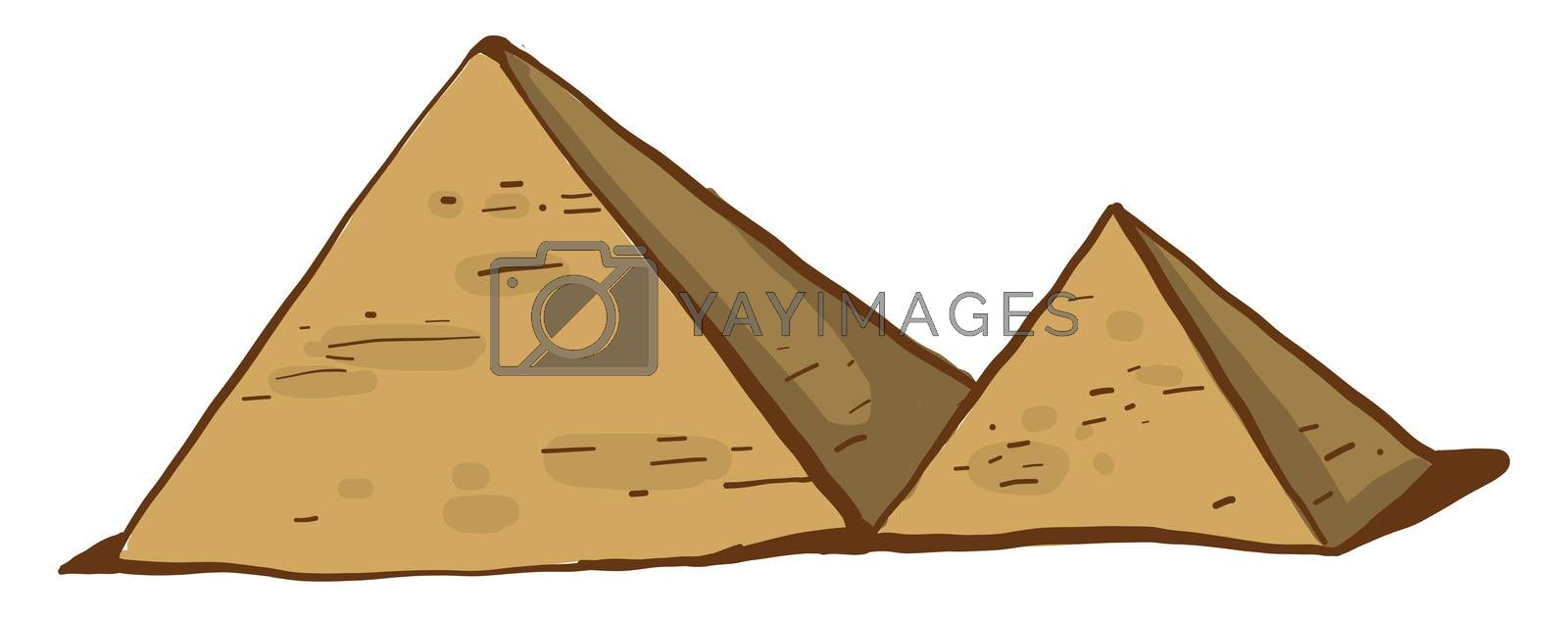 Egyptian pyramids , illustration, vector on white background
