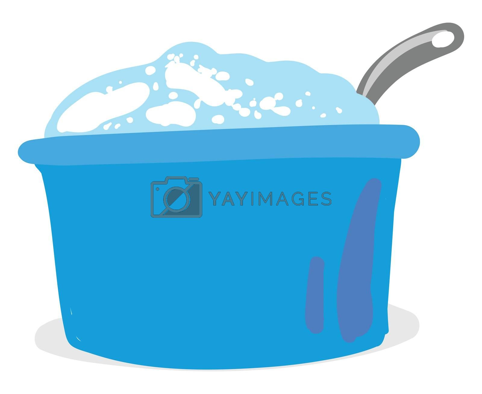 Flat sour cream in bowl , illustration, vector on white background