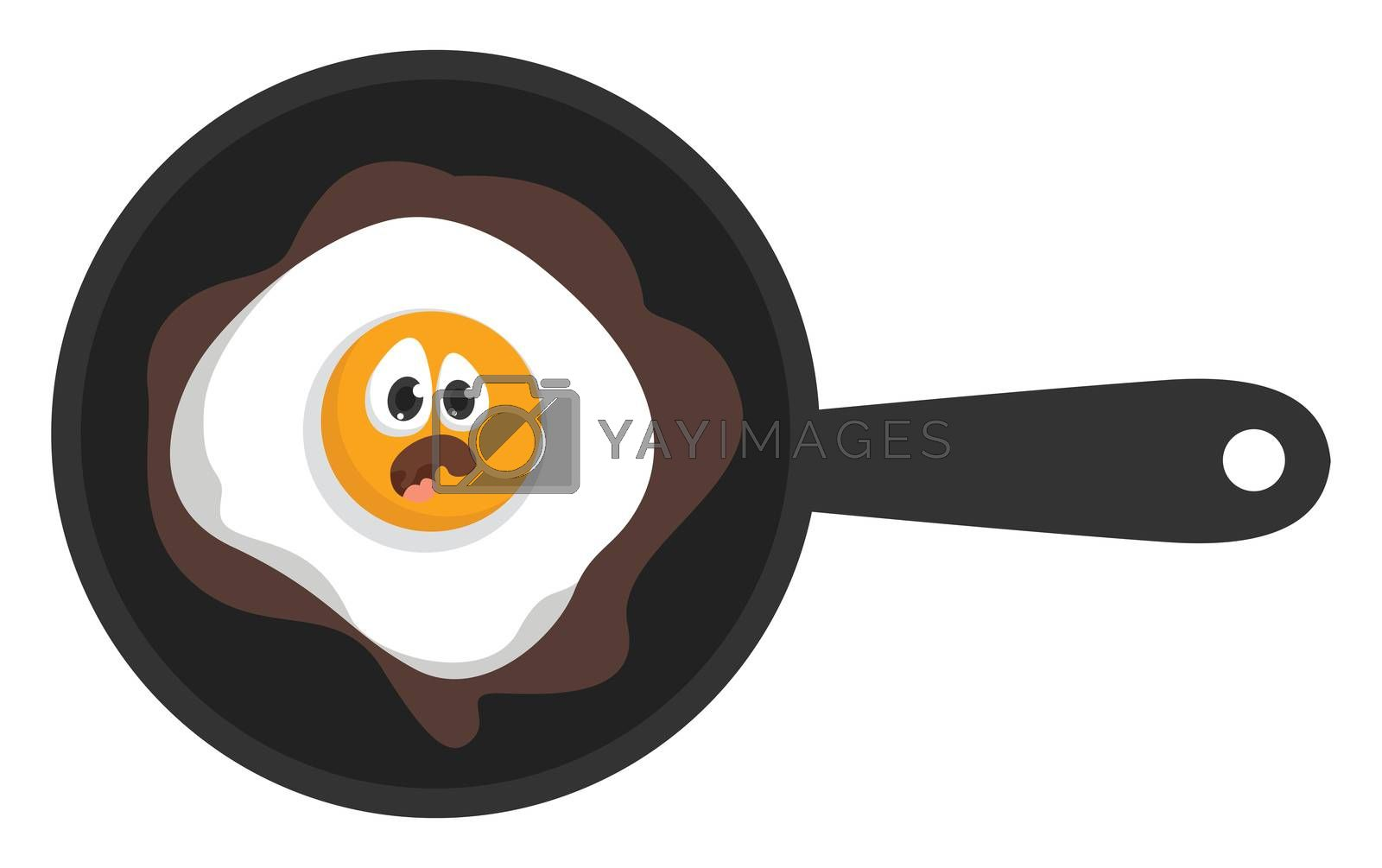 Fried eggs , illustration, vector on white background