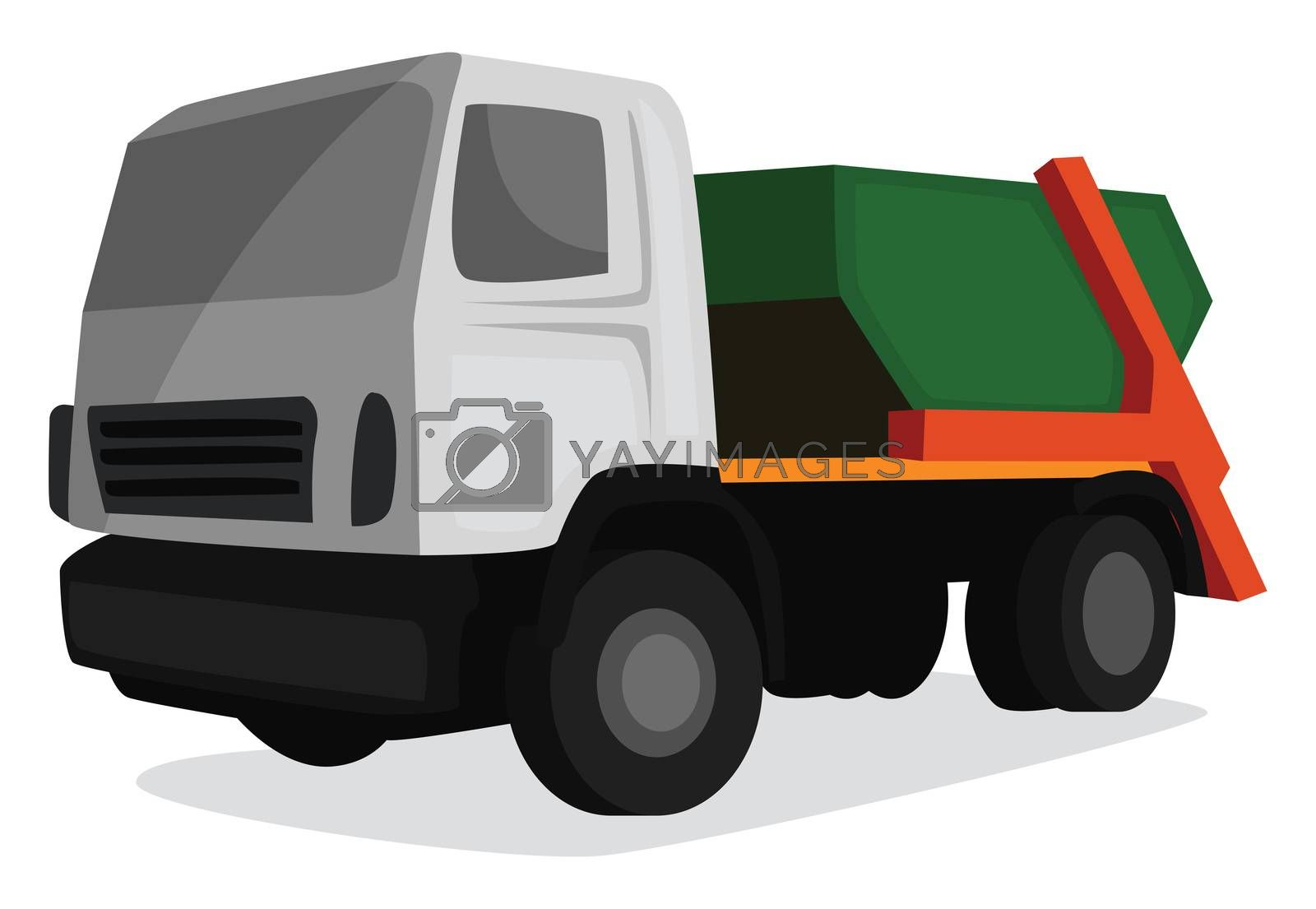 Garbage truck , illustration, vector on white background by Morphart