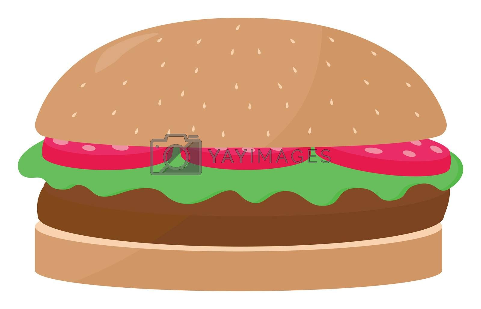 Hamburger , illustration, vector on white background by Morphart
