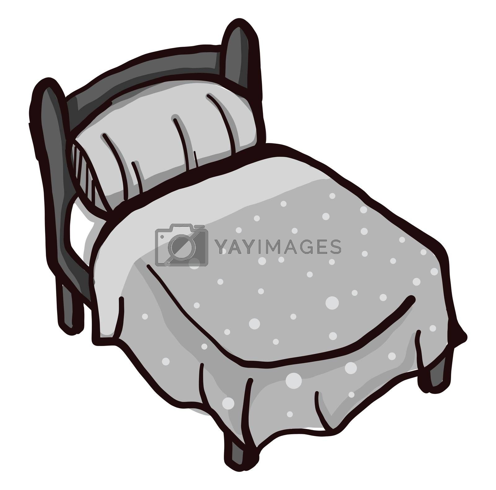 Grey bed , illustration, vector on white background by Morphart