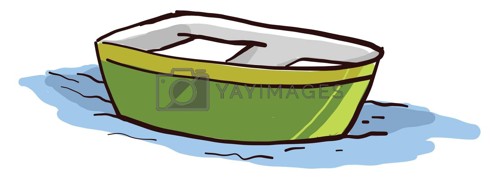 Green small boat , illustration, vector on white background