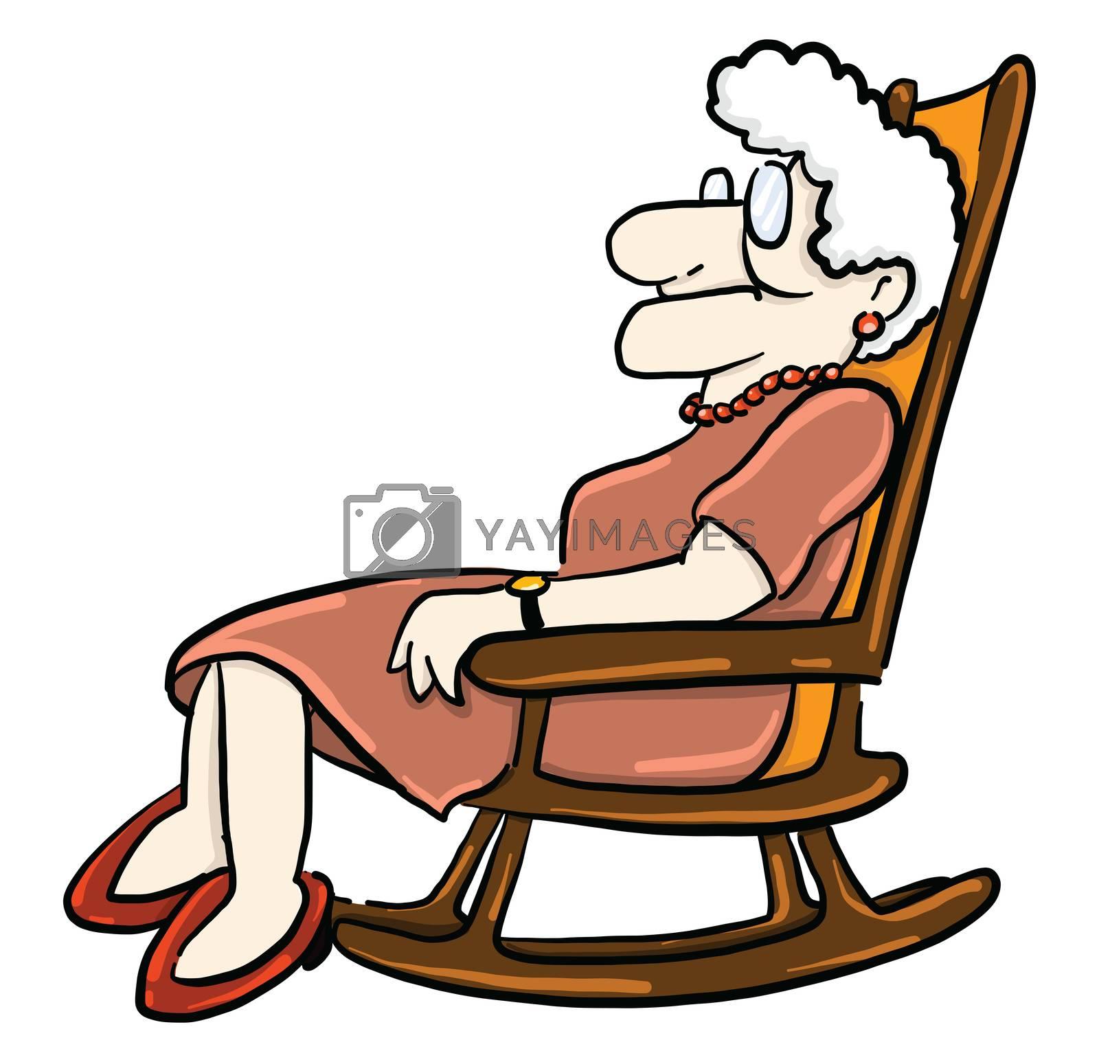 Grandma in chair , illustration, vector on white background