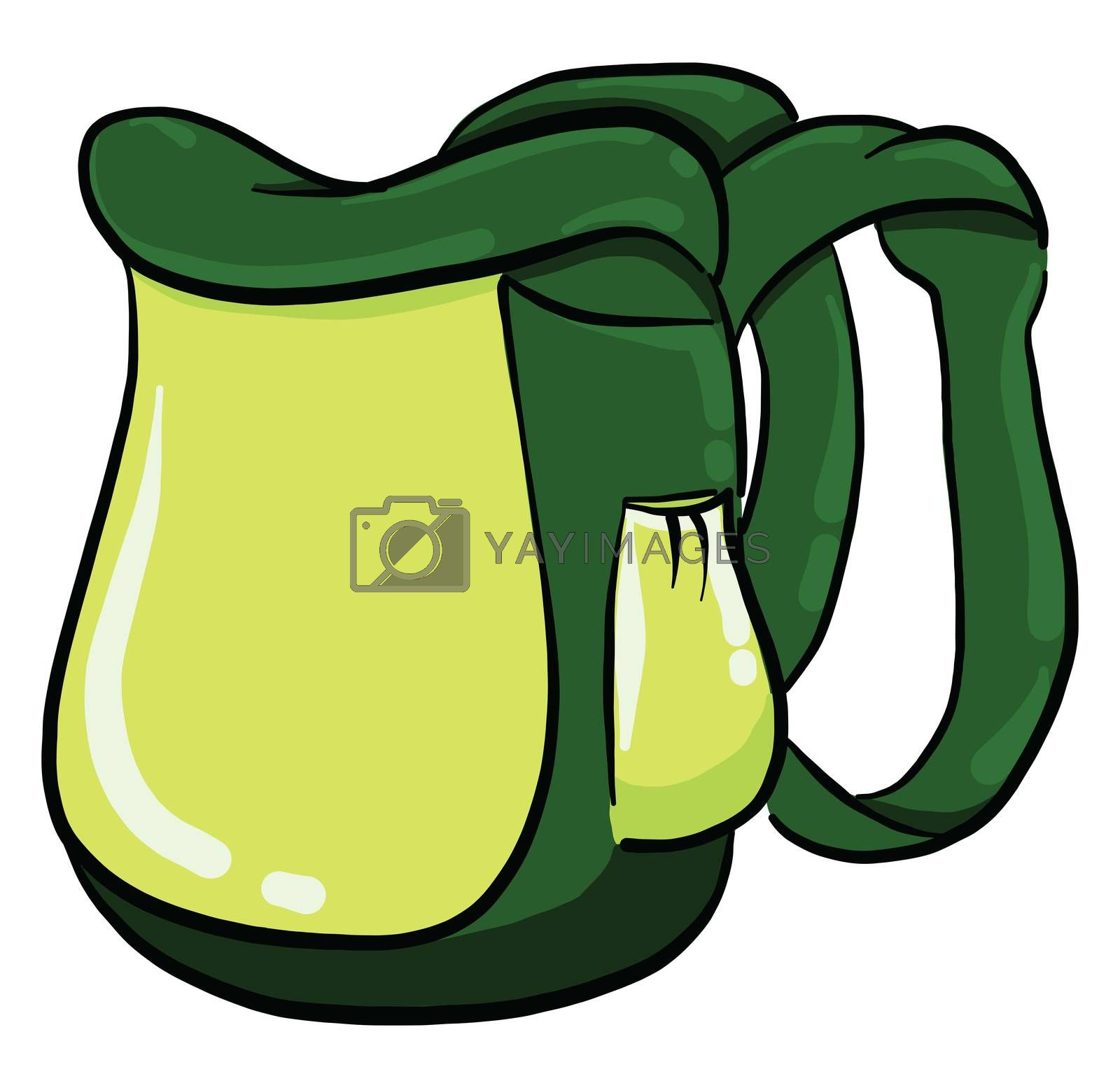 Green backpack , illustration, vector on white background by Morphart