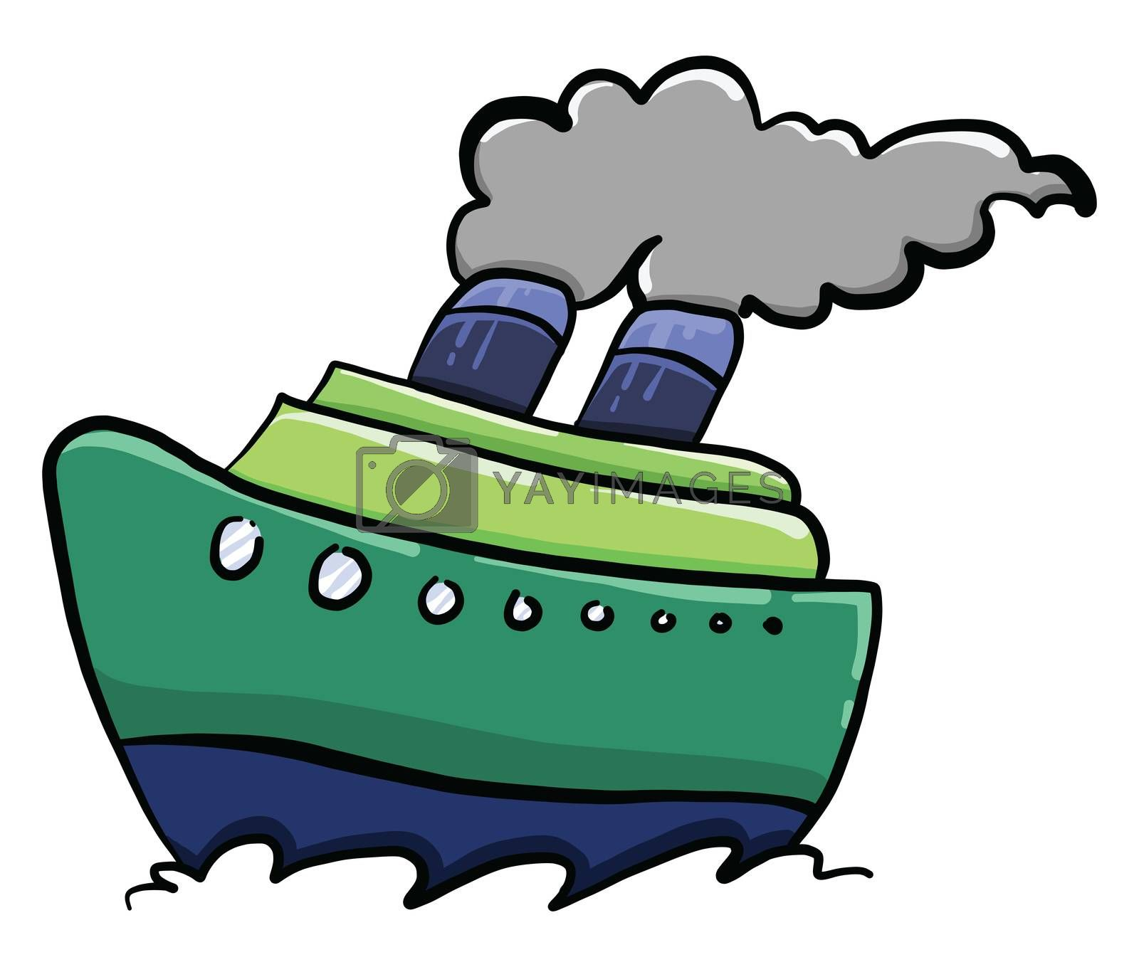 Green ship , illustration, vector on white background