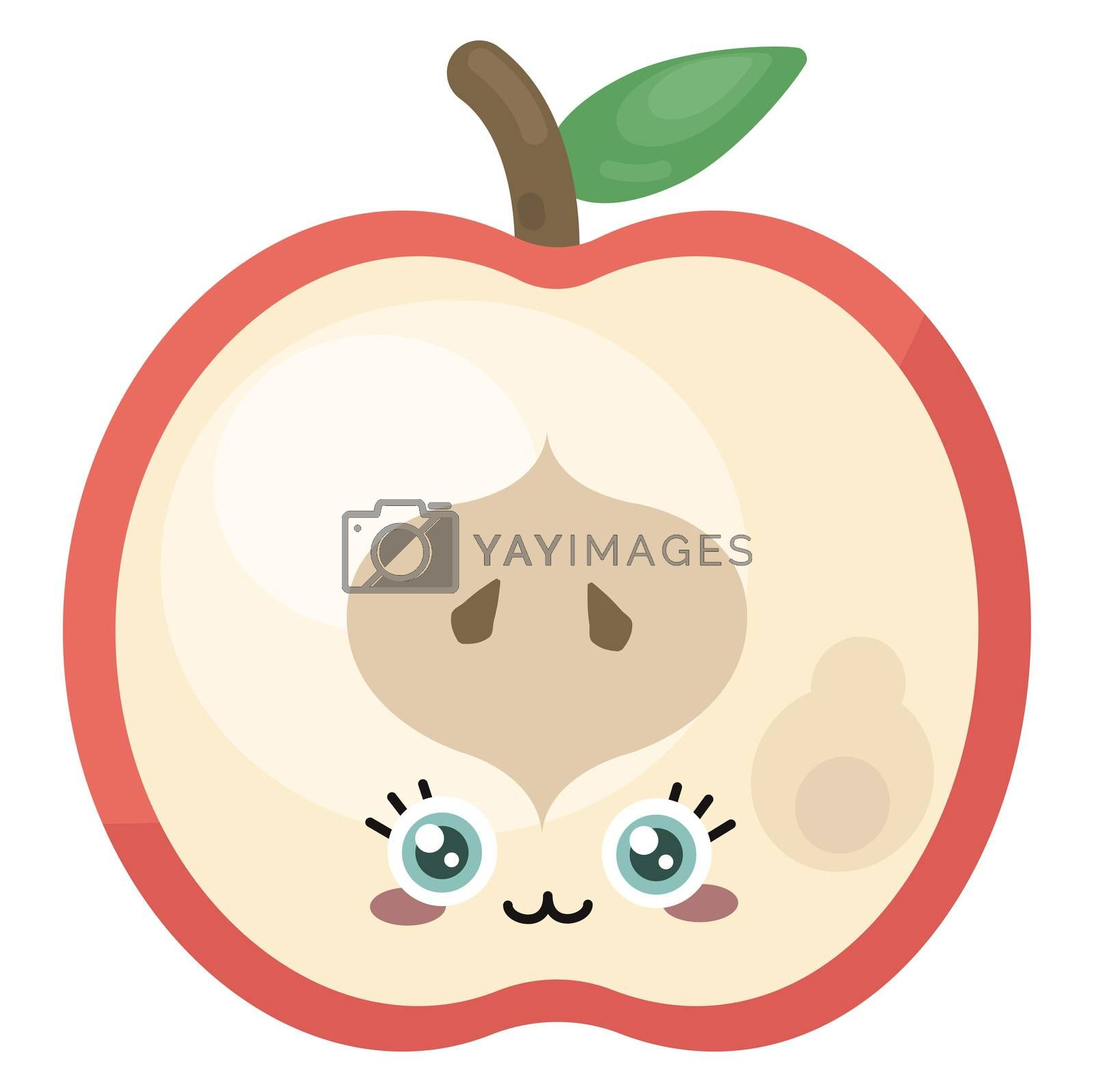 Half red apple , illustration, vector on white background