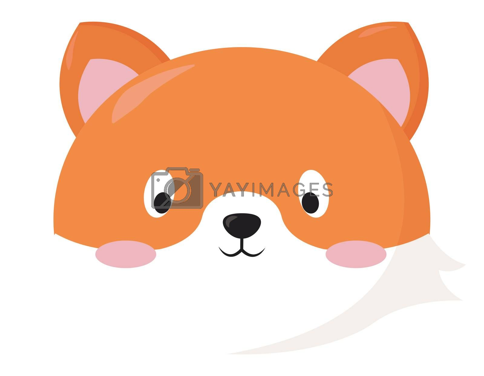 Cute fox head , illustration, vector on white background