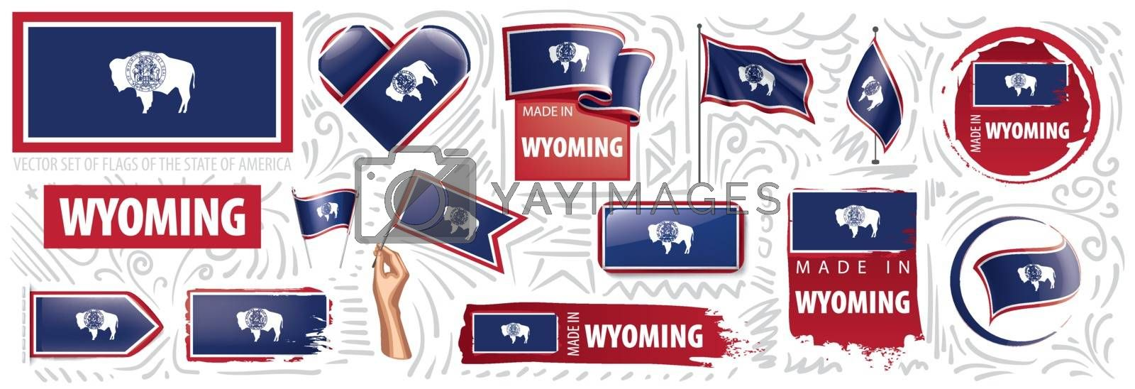 Vector set of flags of the American state of Wyoming in different designs.