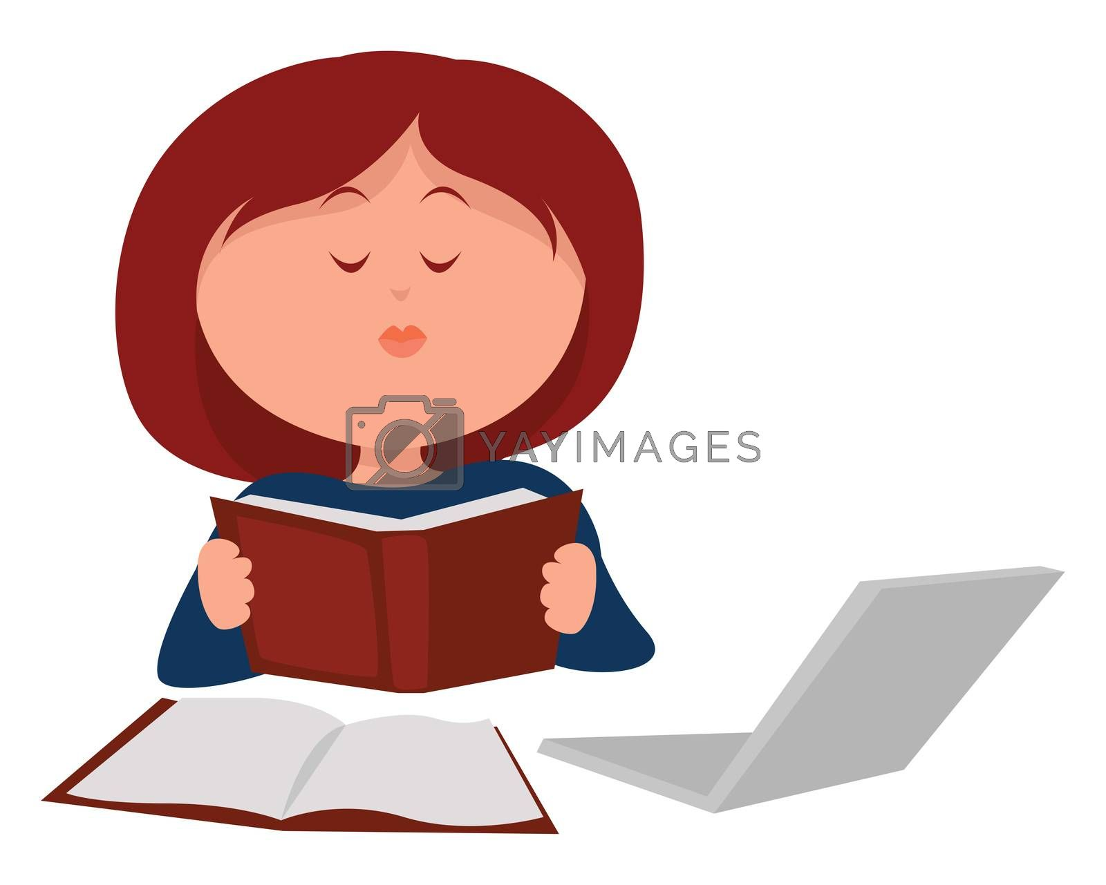 Woman reading book , illustration, vector on white background