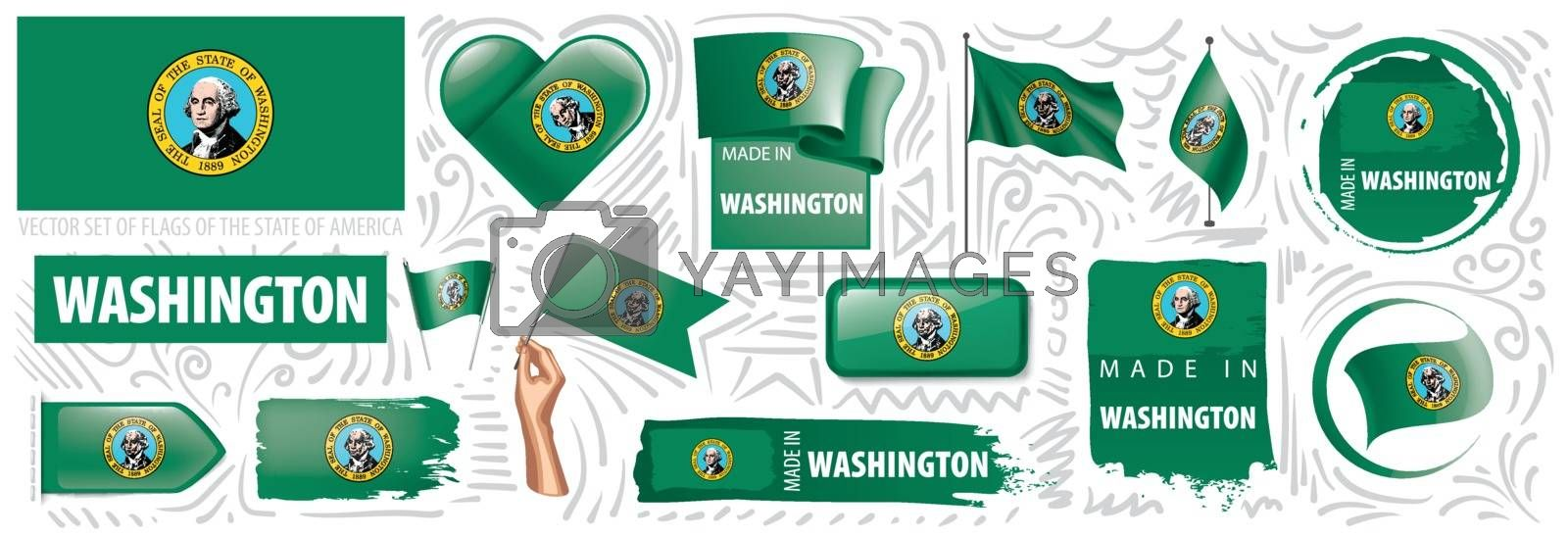 Vector set of flags of the American state of Washington in different designs.