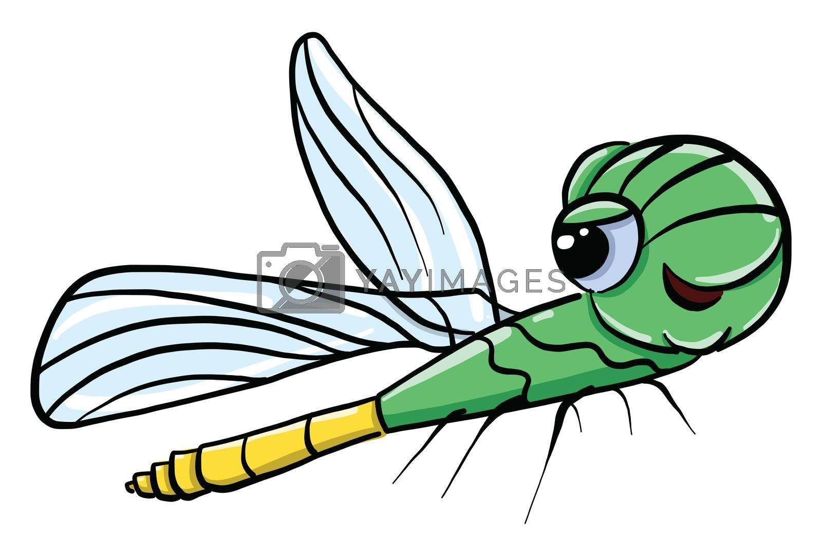 Green flying insect , illustration, vector on white background